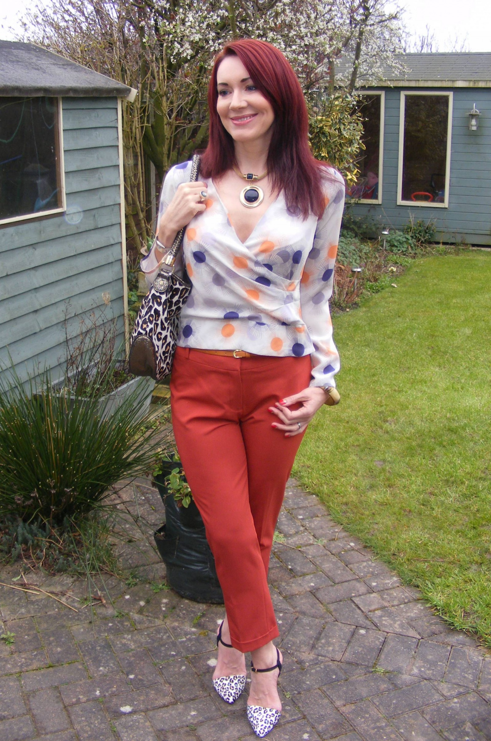 Reiss silk blouse Dorothy Perkins orange crop trousers
