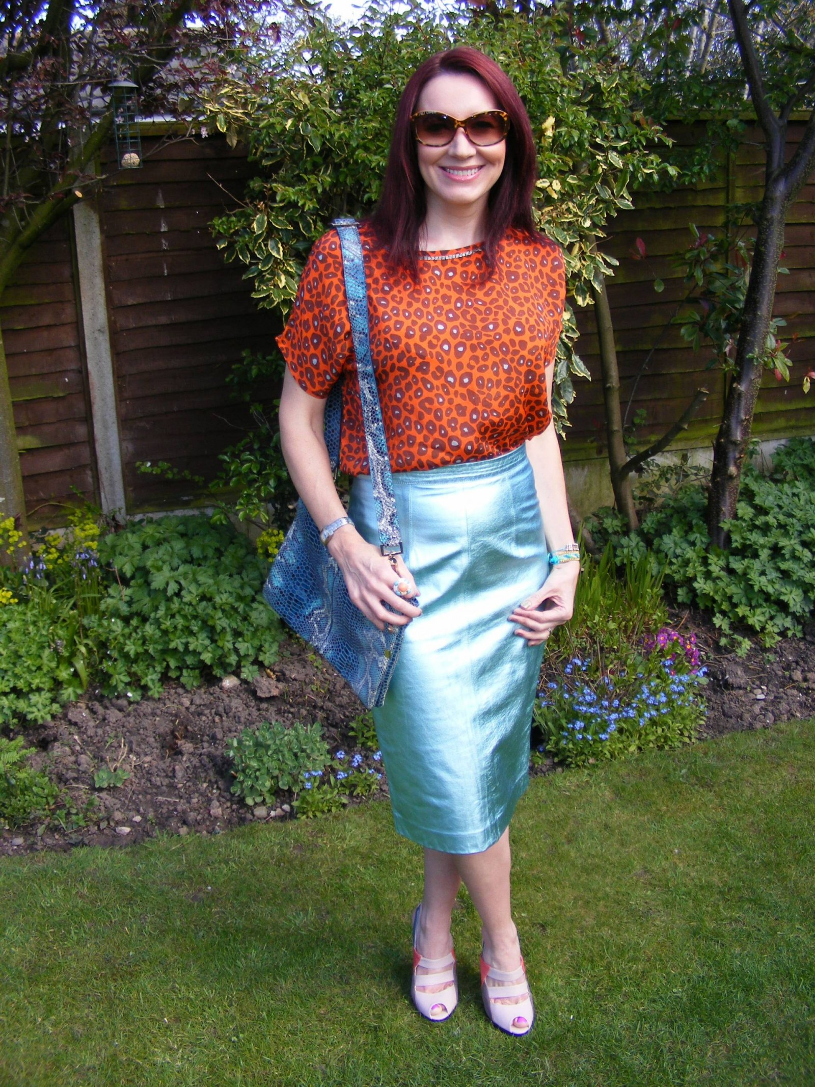 Biba leopard print top Marks and Spencer metallic leather skirt
