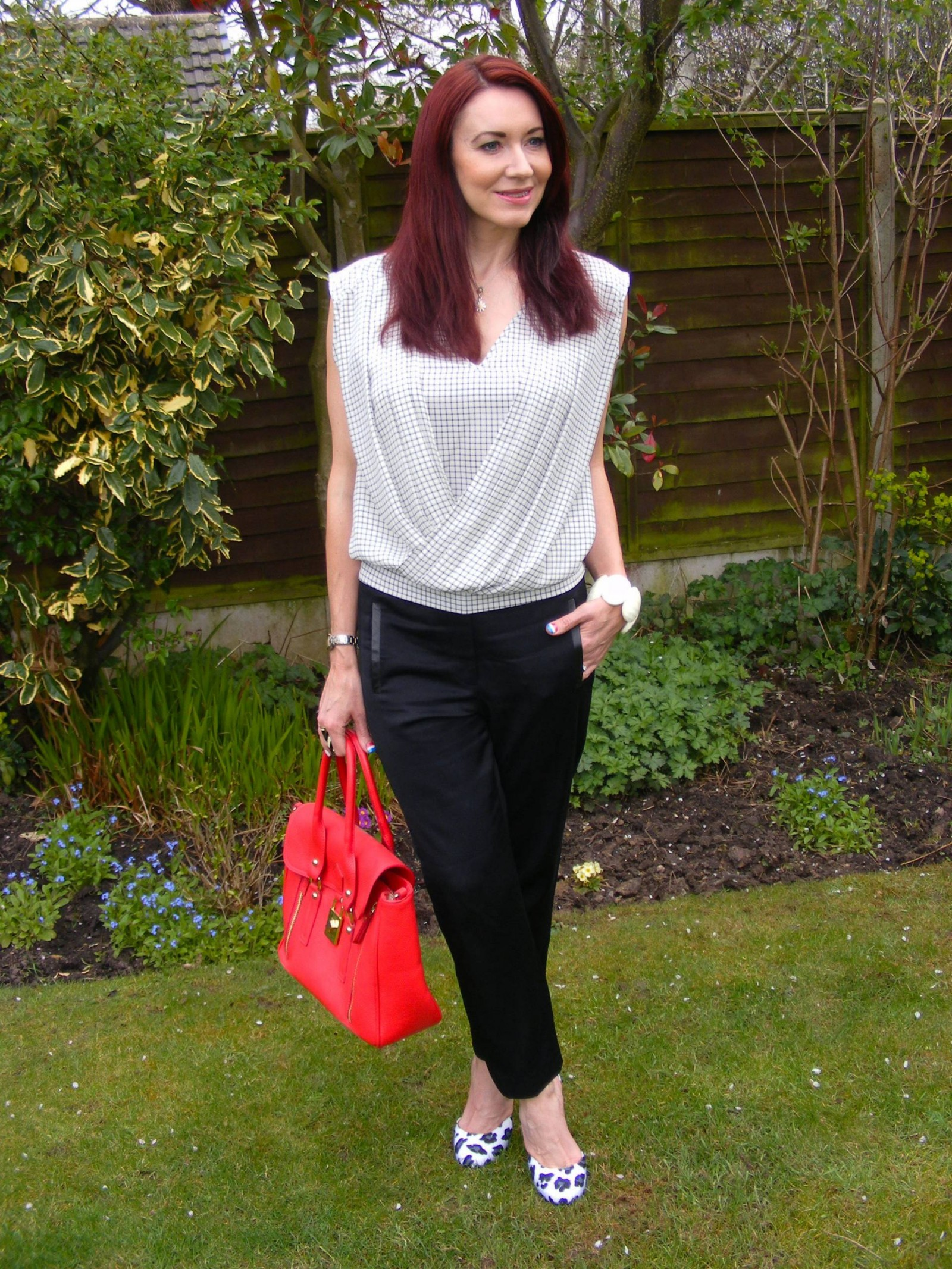 Black Tibi trousers Warehouse black and white fold top