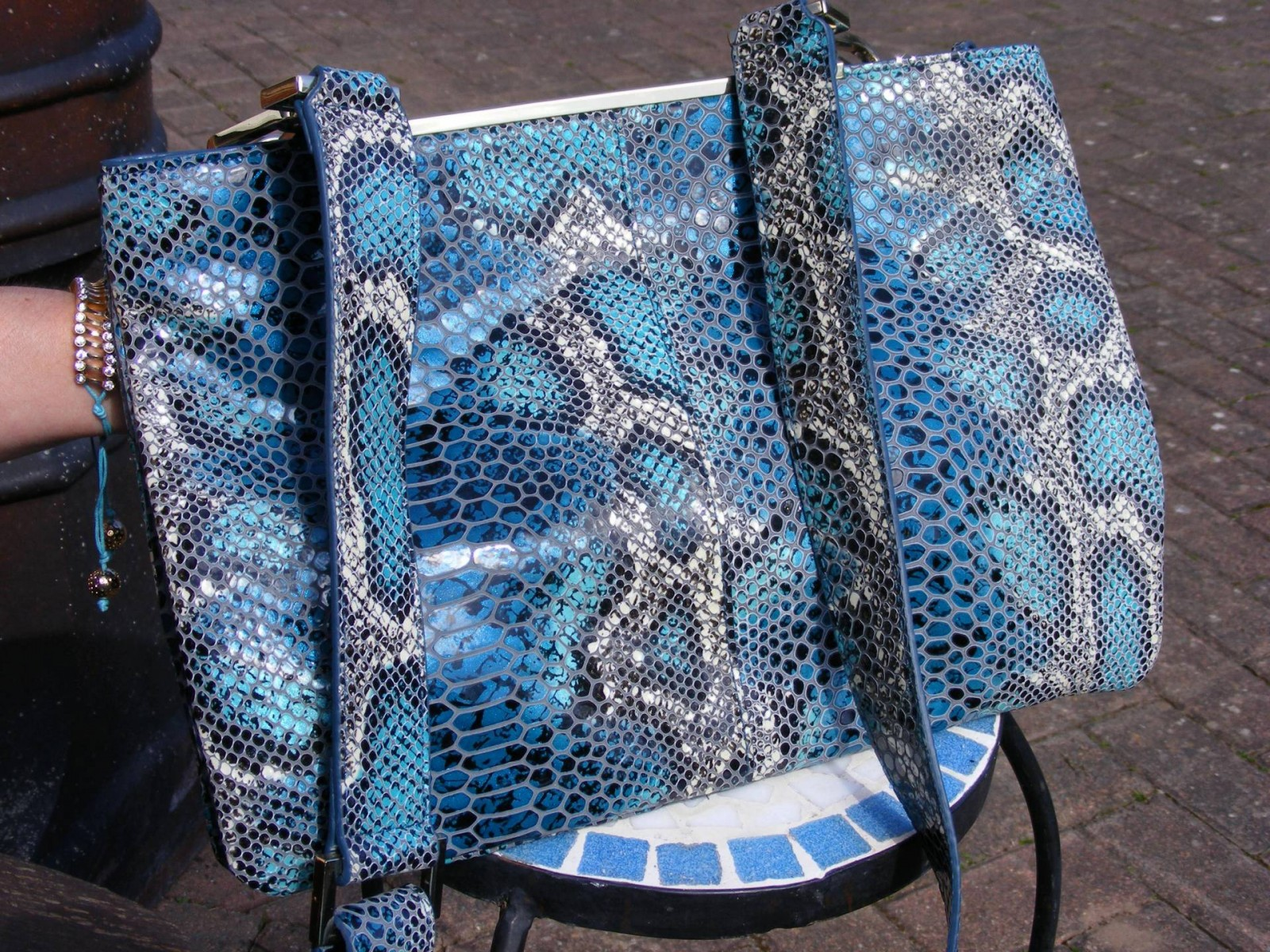 Blue snakeprint Mary Portas messenger bag
