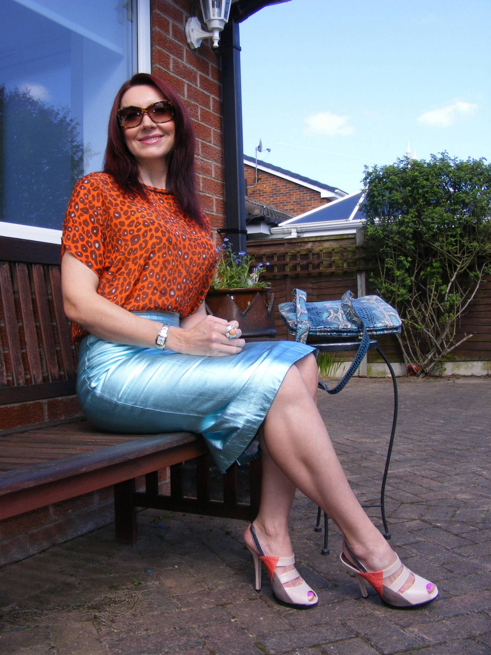 M&S leather metallic skirt Biba leopard print top