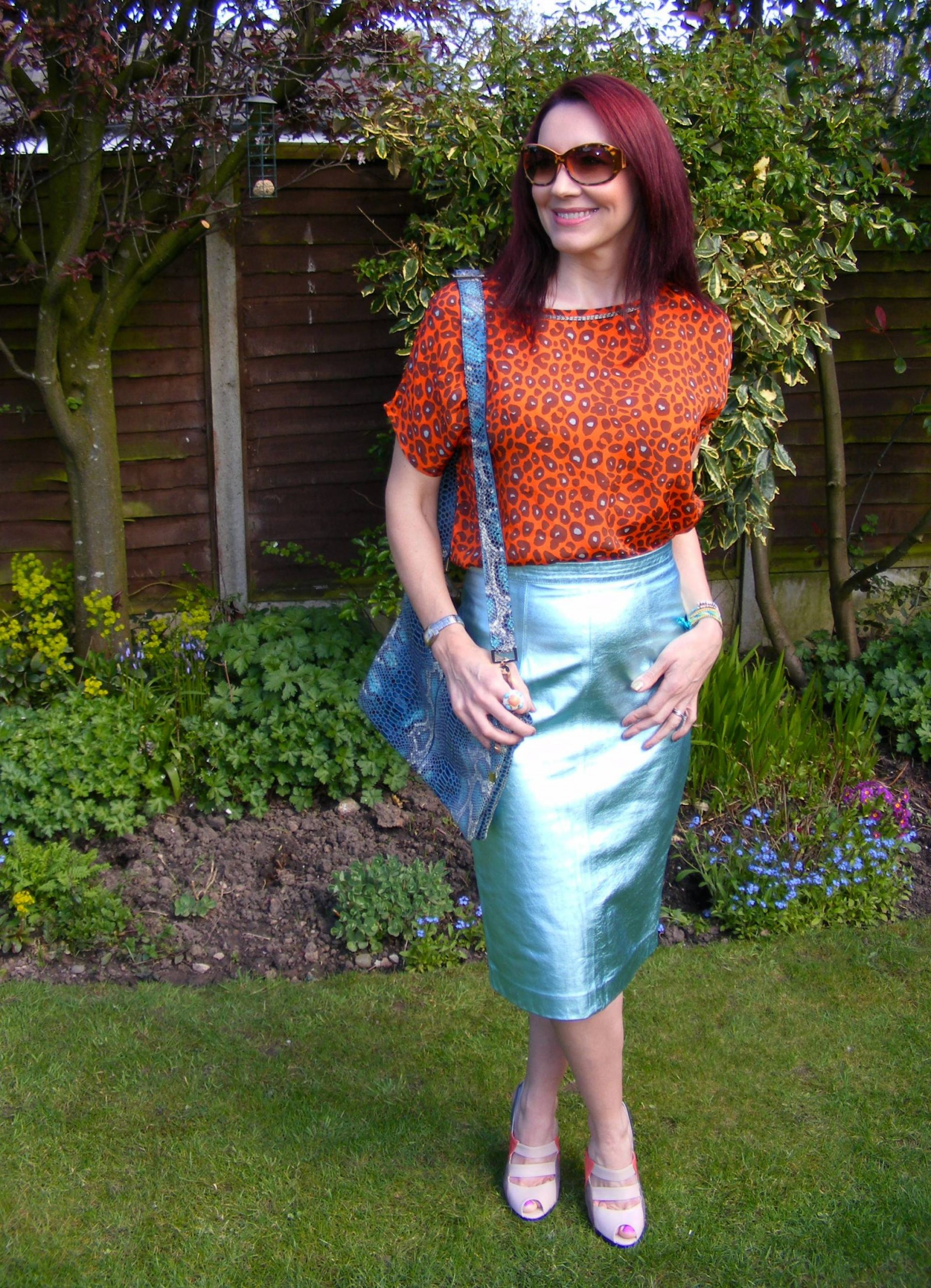 Marks and Spencer metallic leather skirt Biba leopard print top