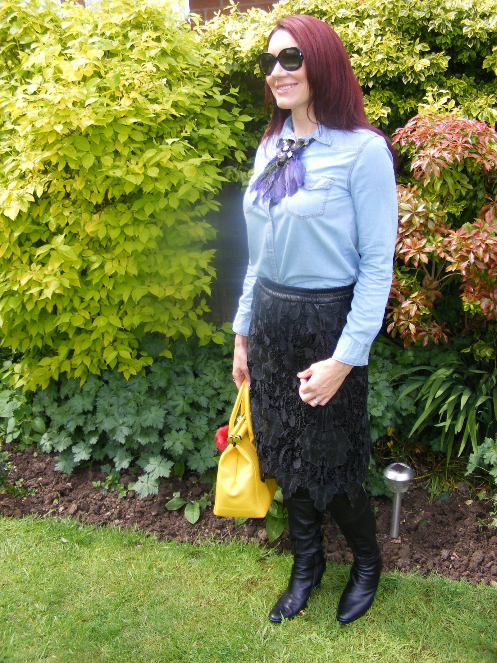 Zara chambray shirt and lace skirt