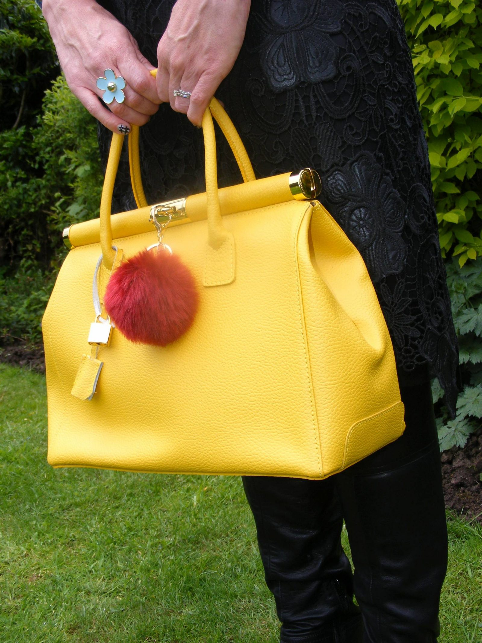 yellow leather Bright Bag