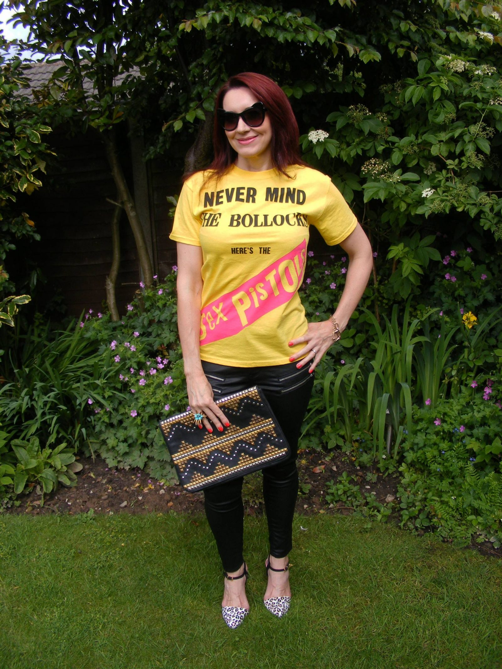 "Uptown Punk - Never Mind the ""Rules"", Sex Pistols tee, Very coated black jeans, Asos studded clutch"