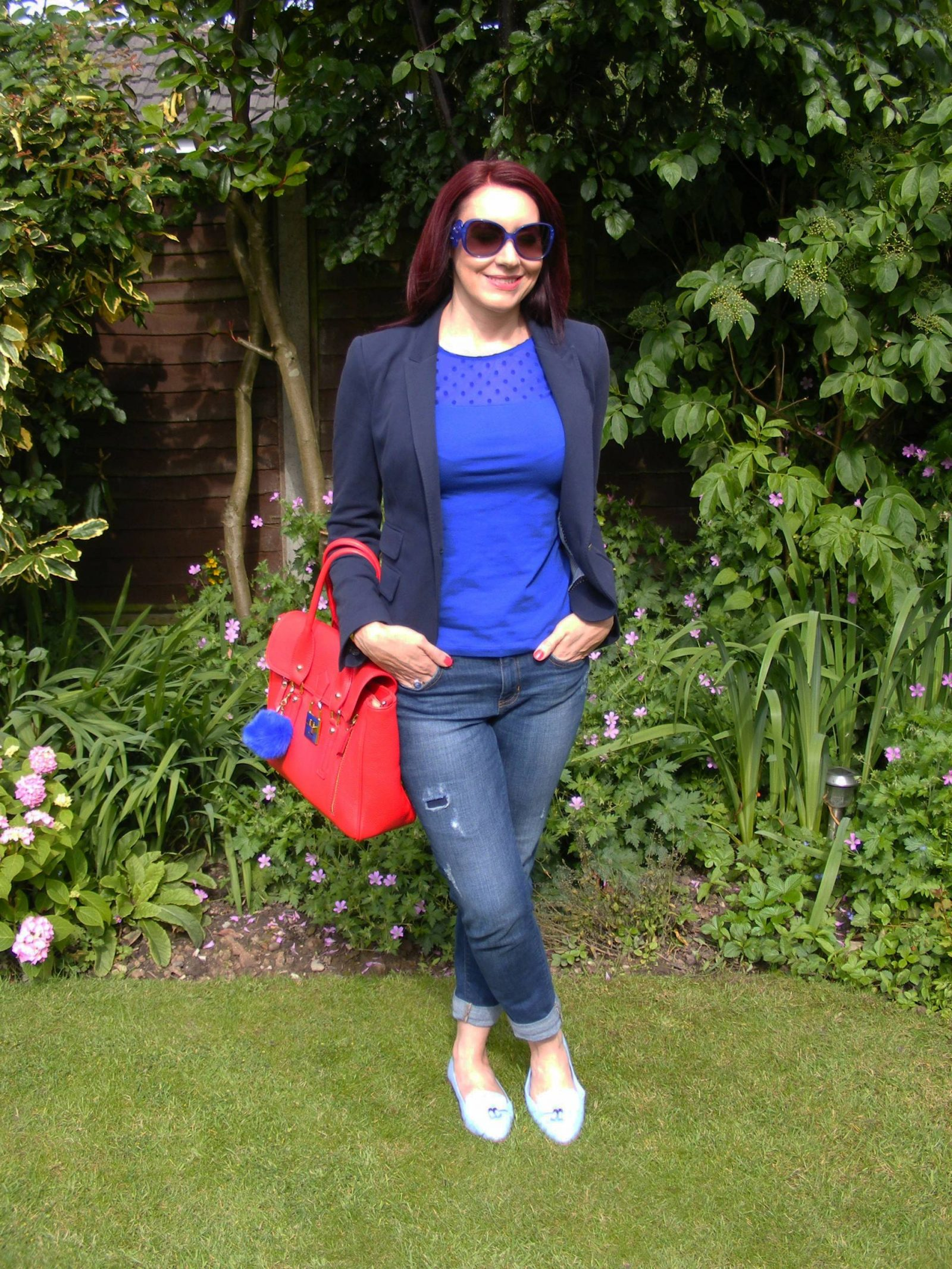 Shades of Blue With a Pop of Red HM sheer spot top Zara navy jacket