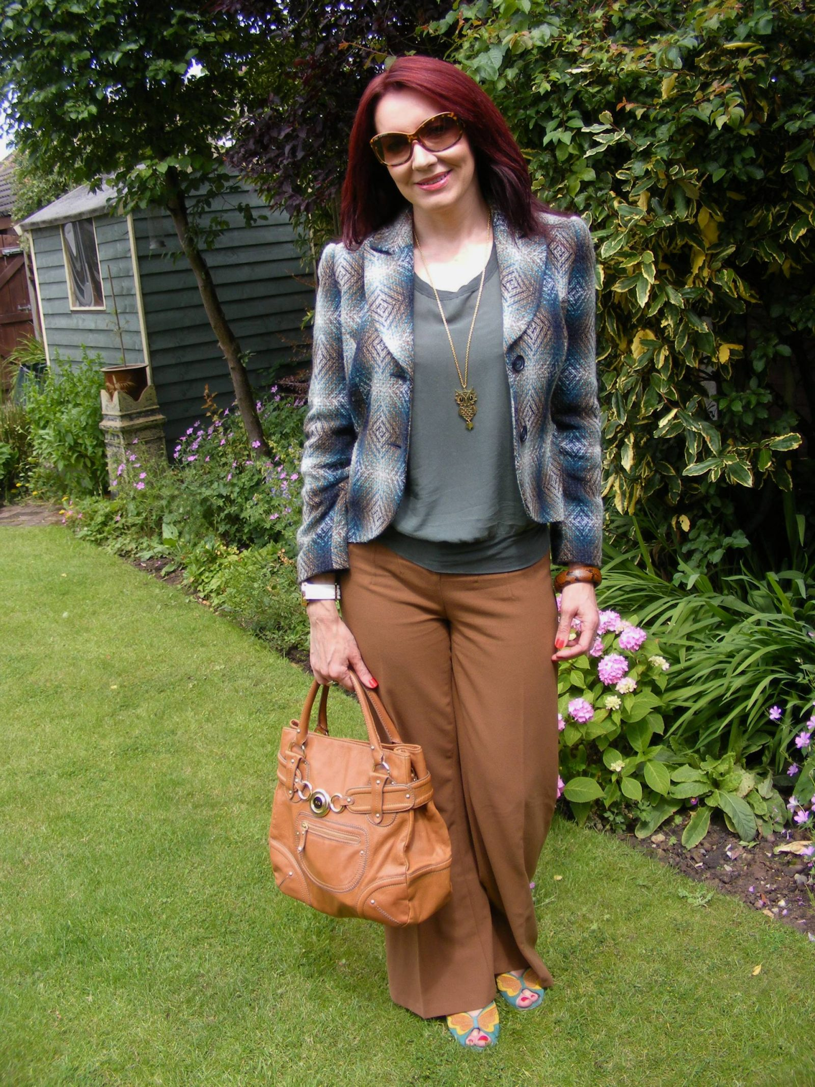 Brown and Khaki M&S Per Una Speziale jacket James Perse silk top Asos trousers