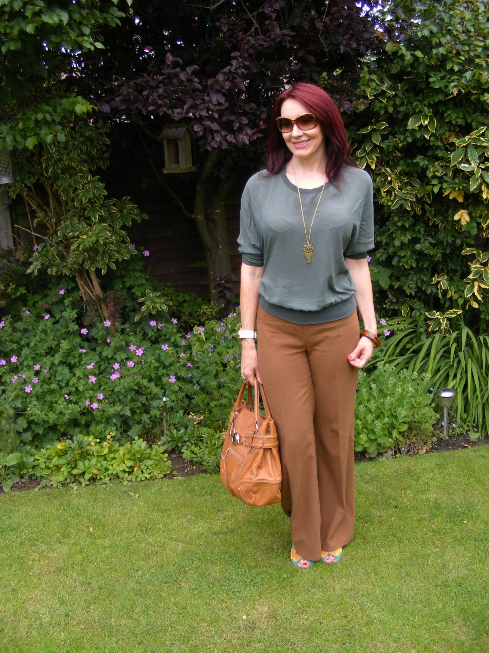 Brown and Khaki James Perse silk top brown Asos trousers