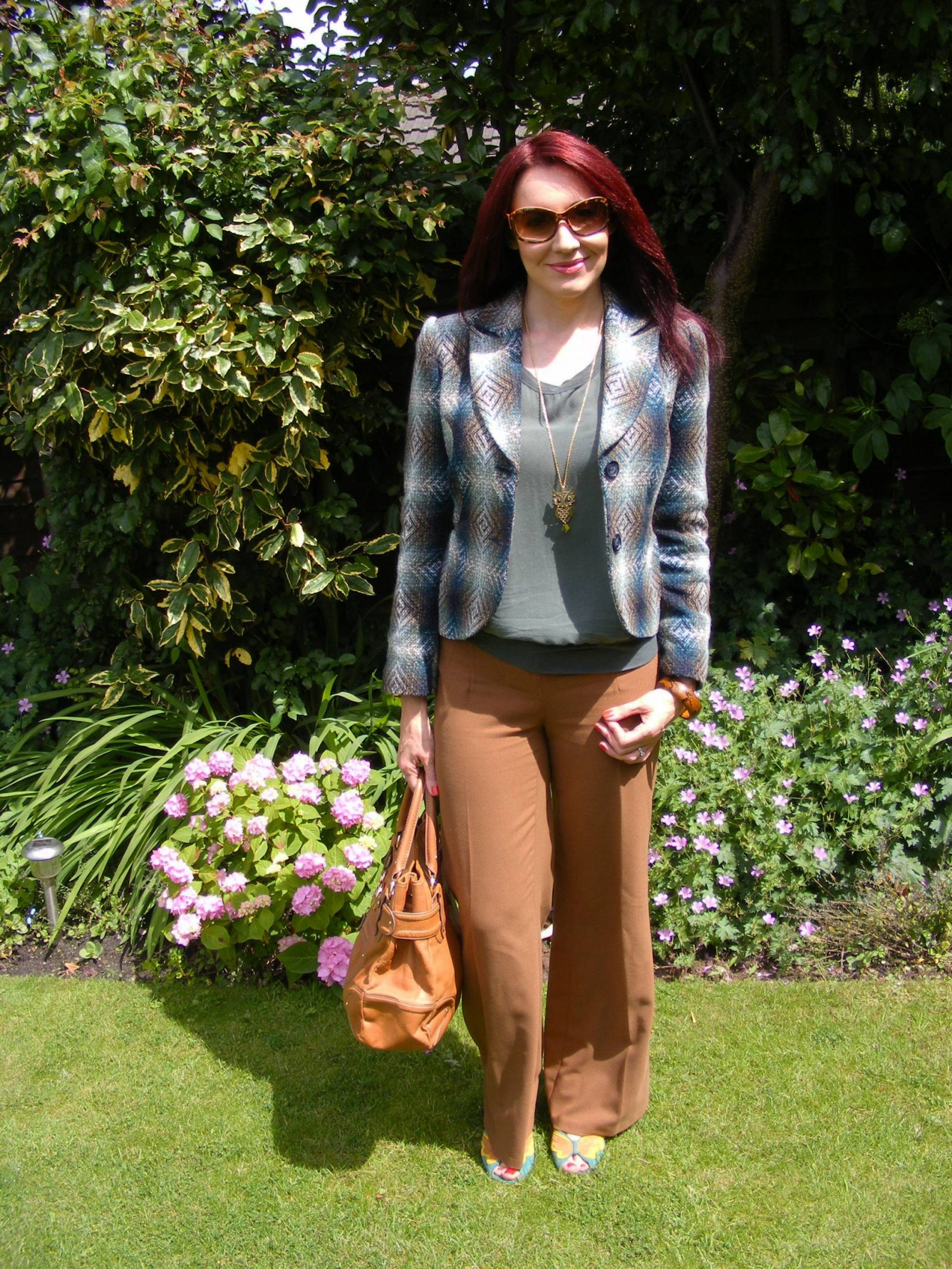 Brown and Khaki M&S Per Una Speziale jacket James Perse silk top