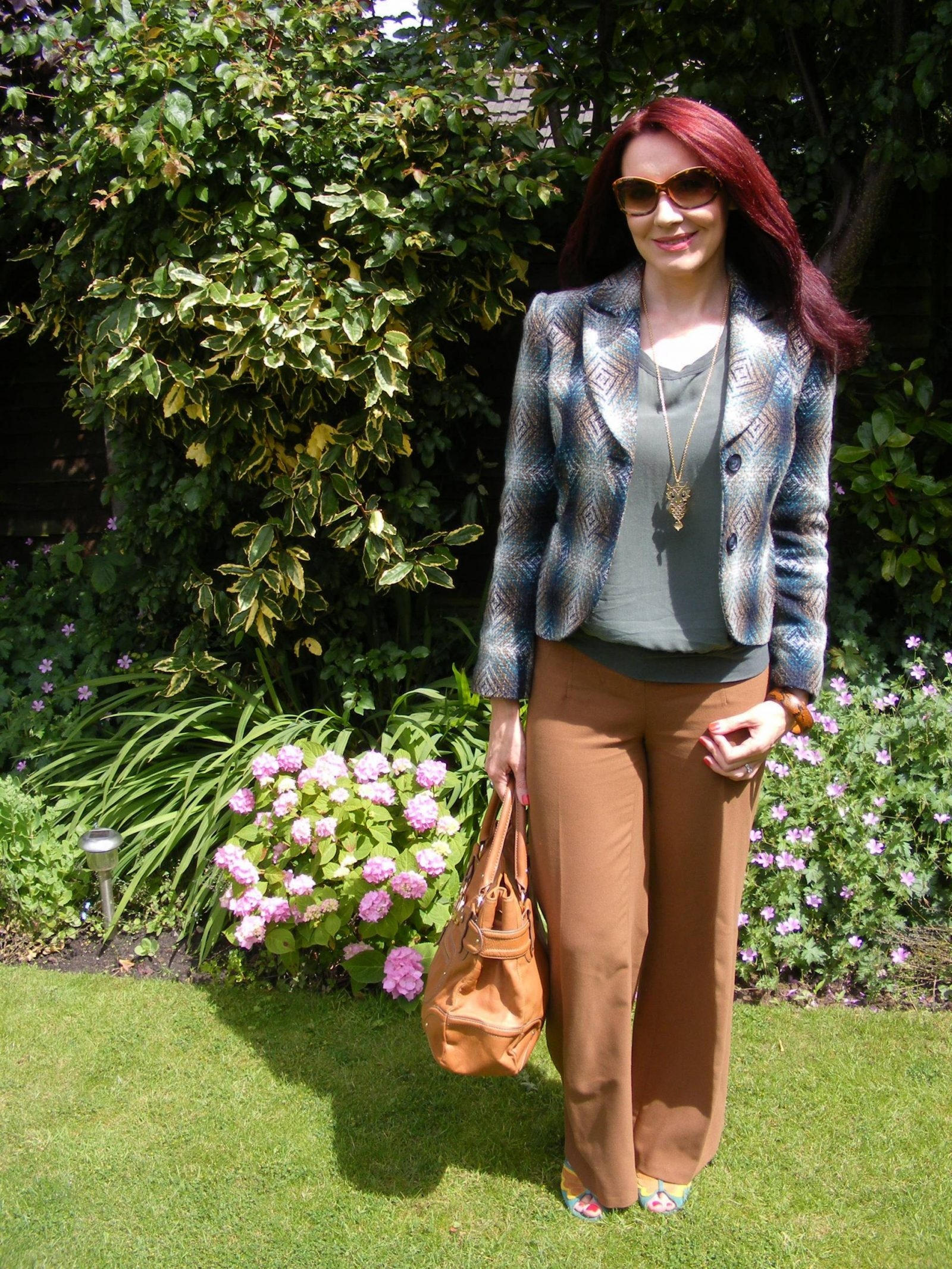 Brown and Khaki M&S tweed jacket James Perse silk top Asos brown trousers