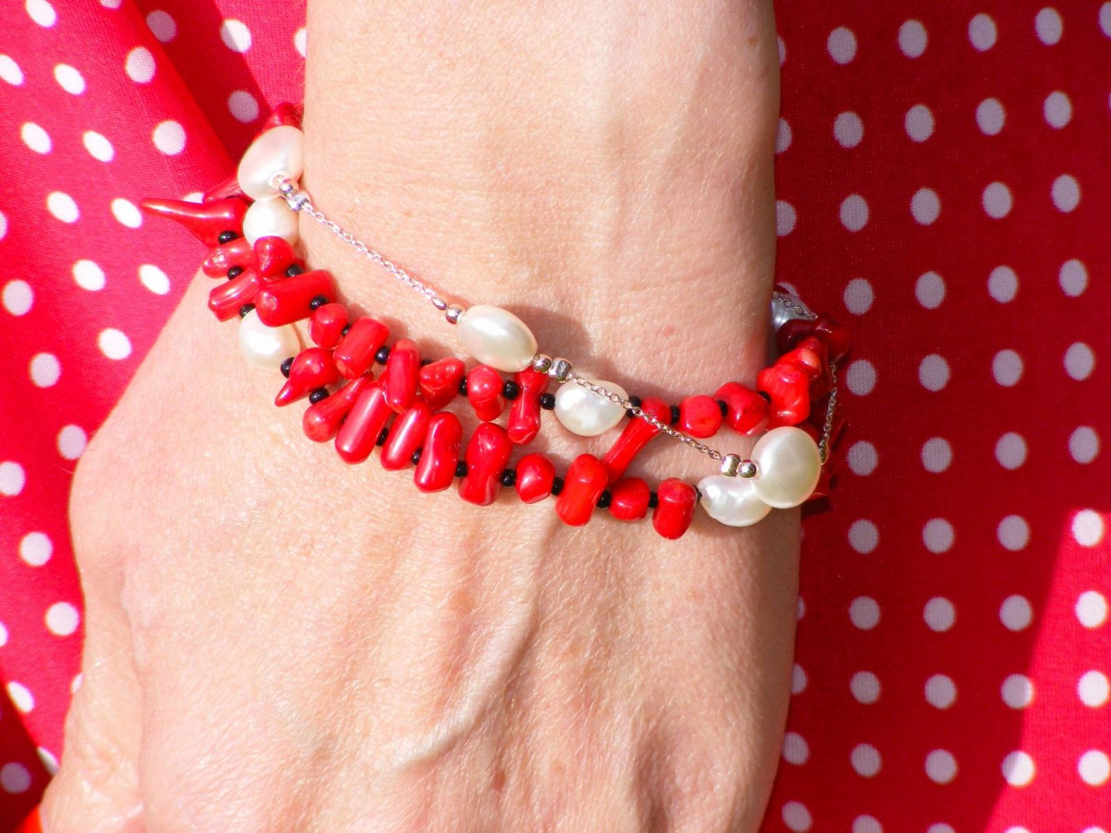 Pia pearl and coral bracelet Karina Megan dress