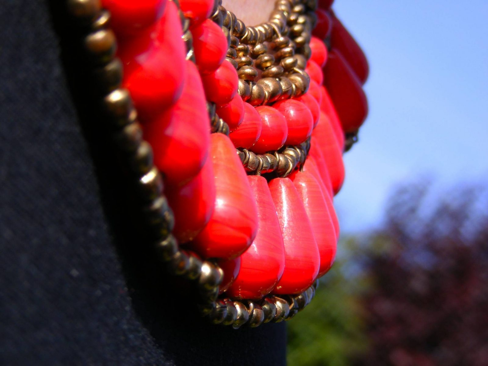 London Calling Red beaded bib necklace