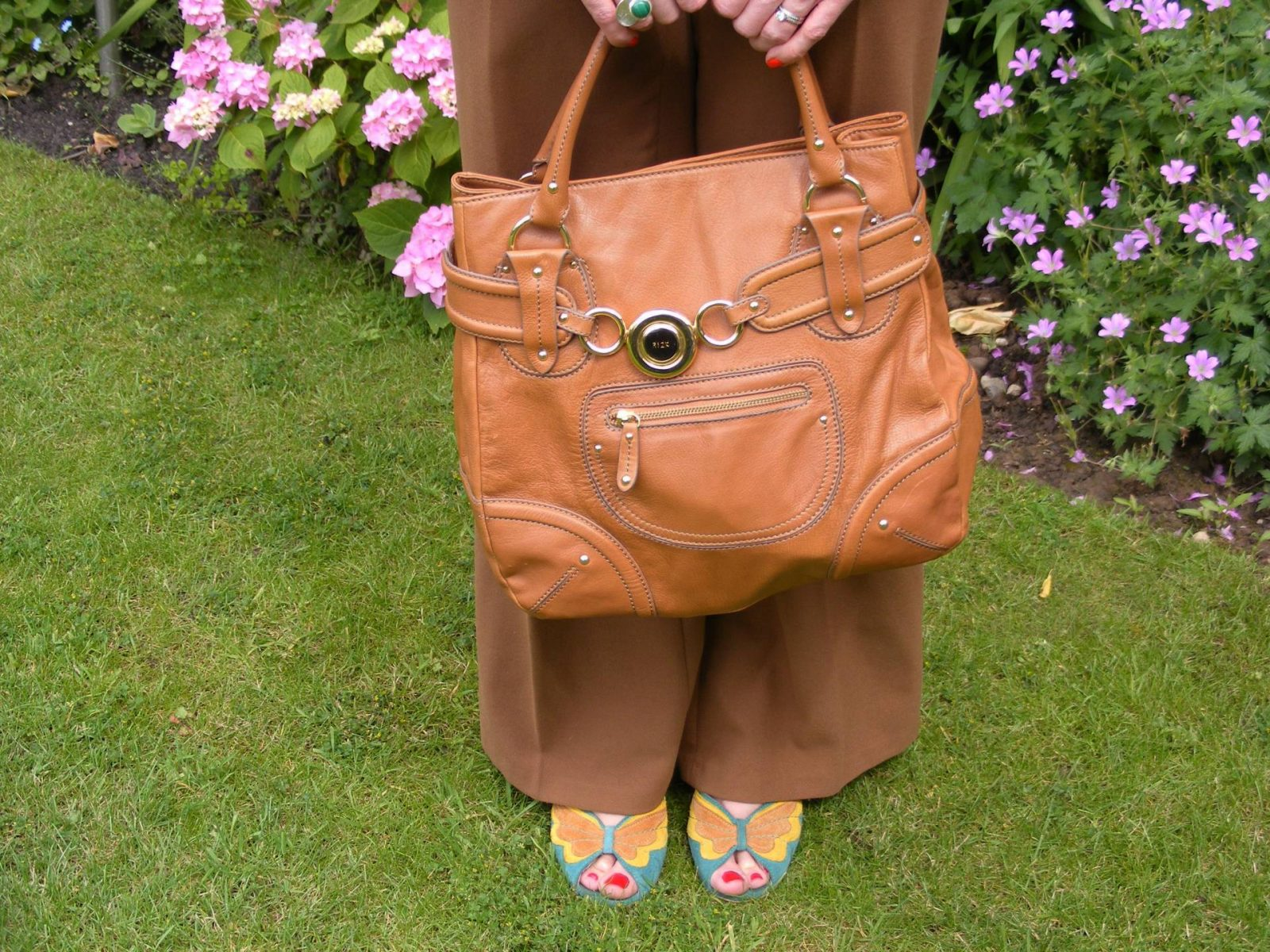 Tan Ri2k bag Asos brown trousers