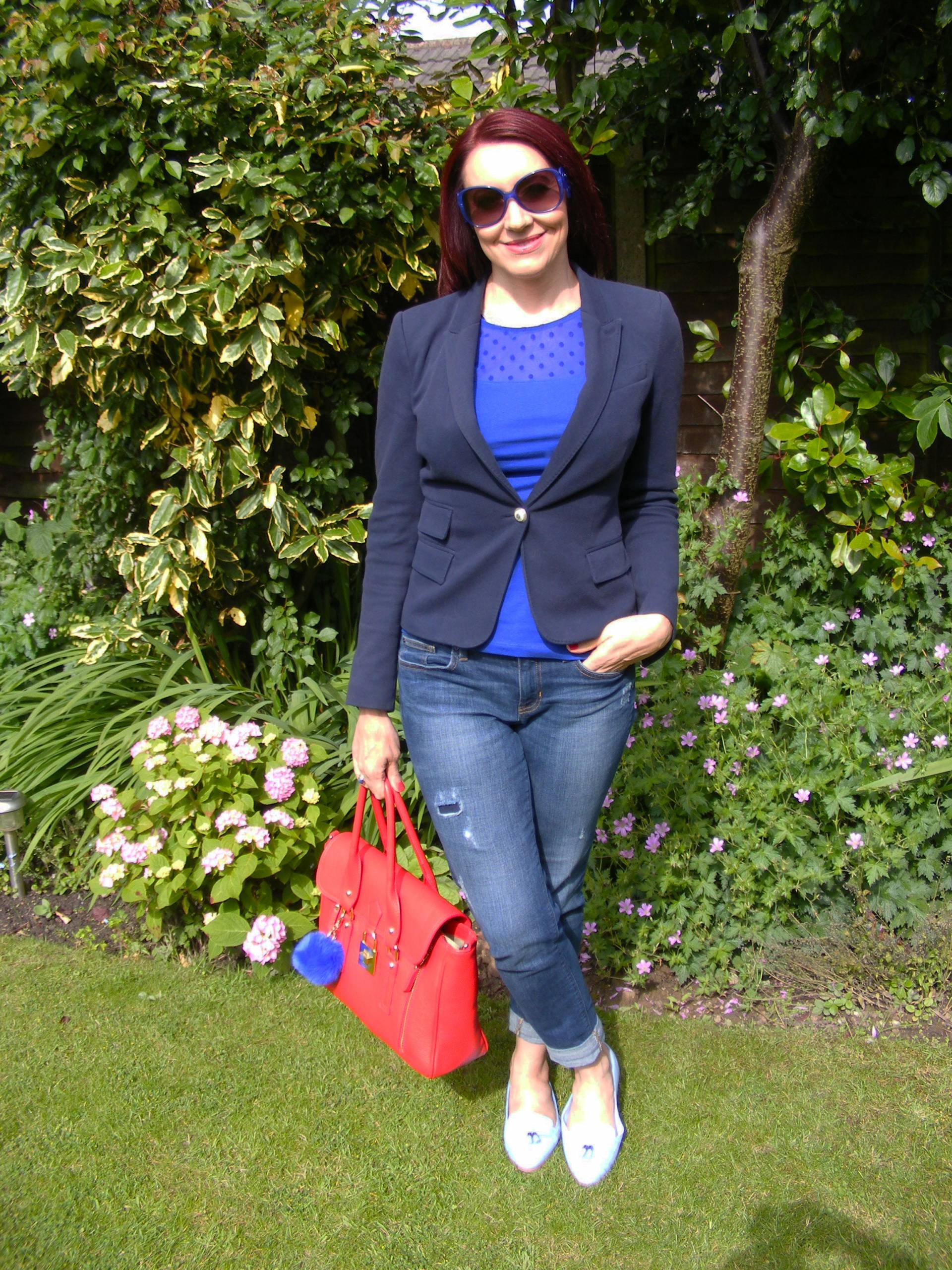 000a655e Shades of Blue With a Pop of Red Zara navy jacket Gap jeans HM sheer spot  top