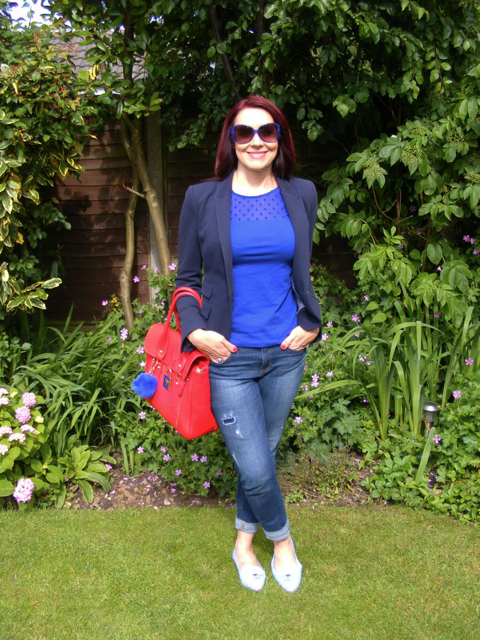 Shades of Blue With a Pop of Red Zara navy jacket Gap jeans HM sheer spot top