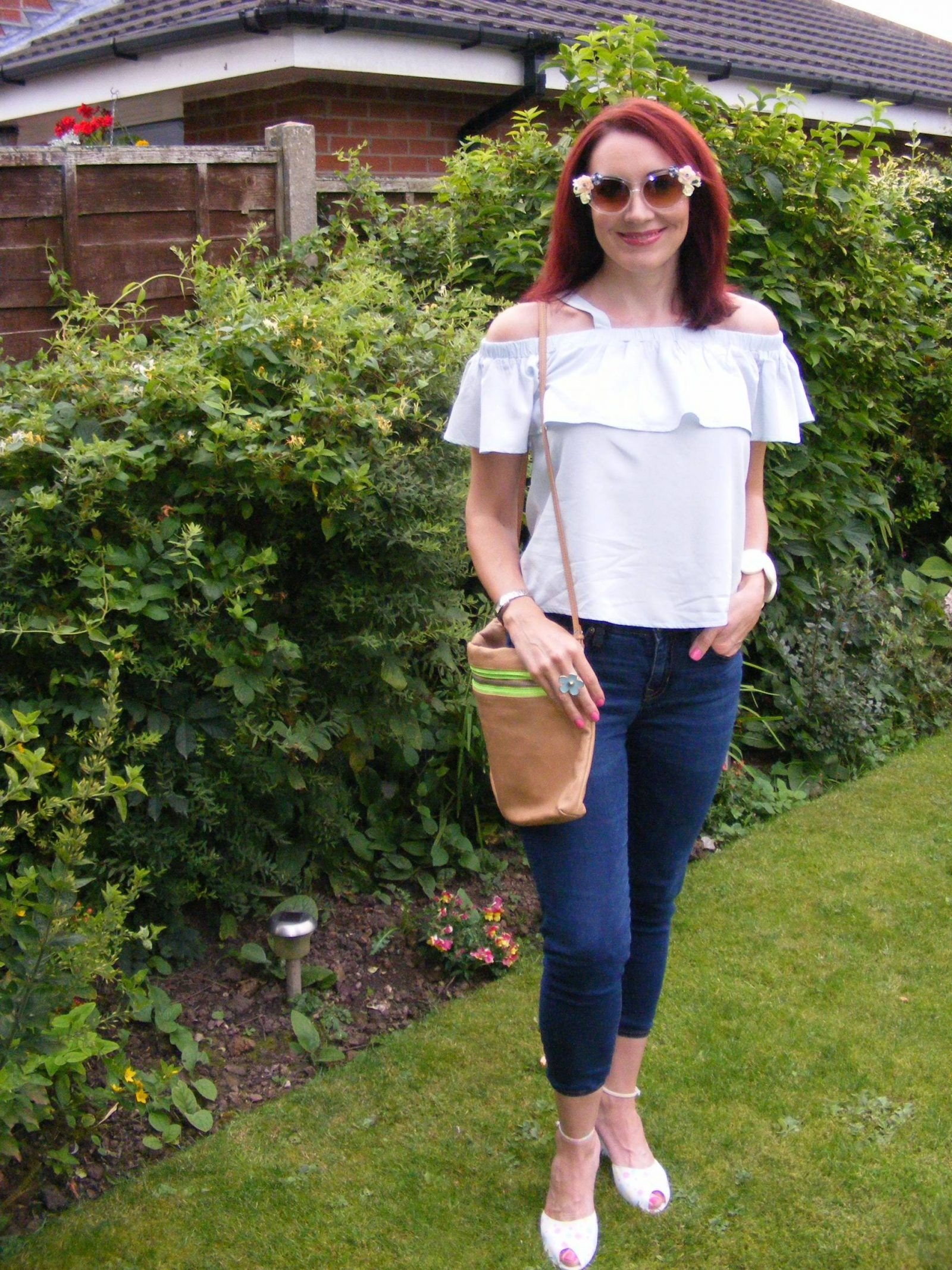 Amy Lynn off the shoulder frill top