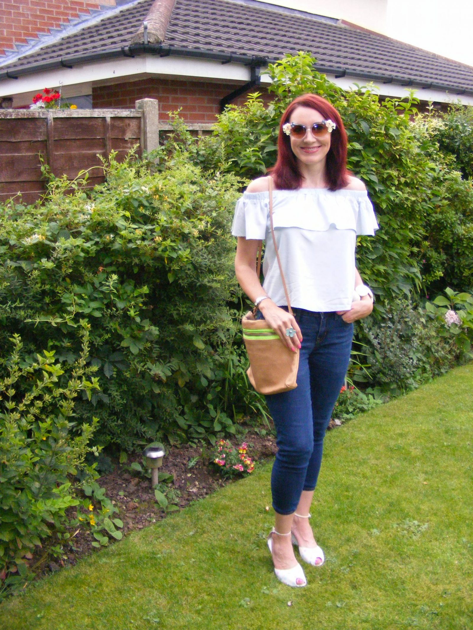 Amy Lynn off the shoulder frill top Asos flower sunglasses