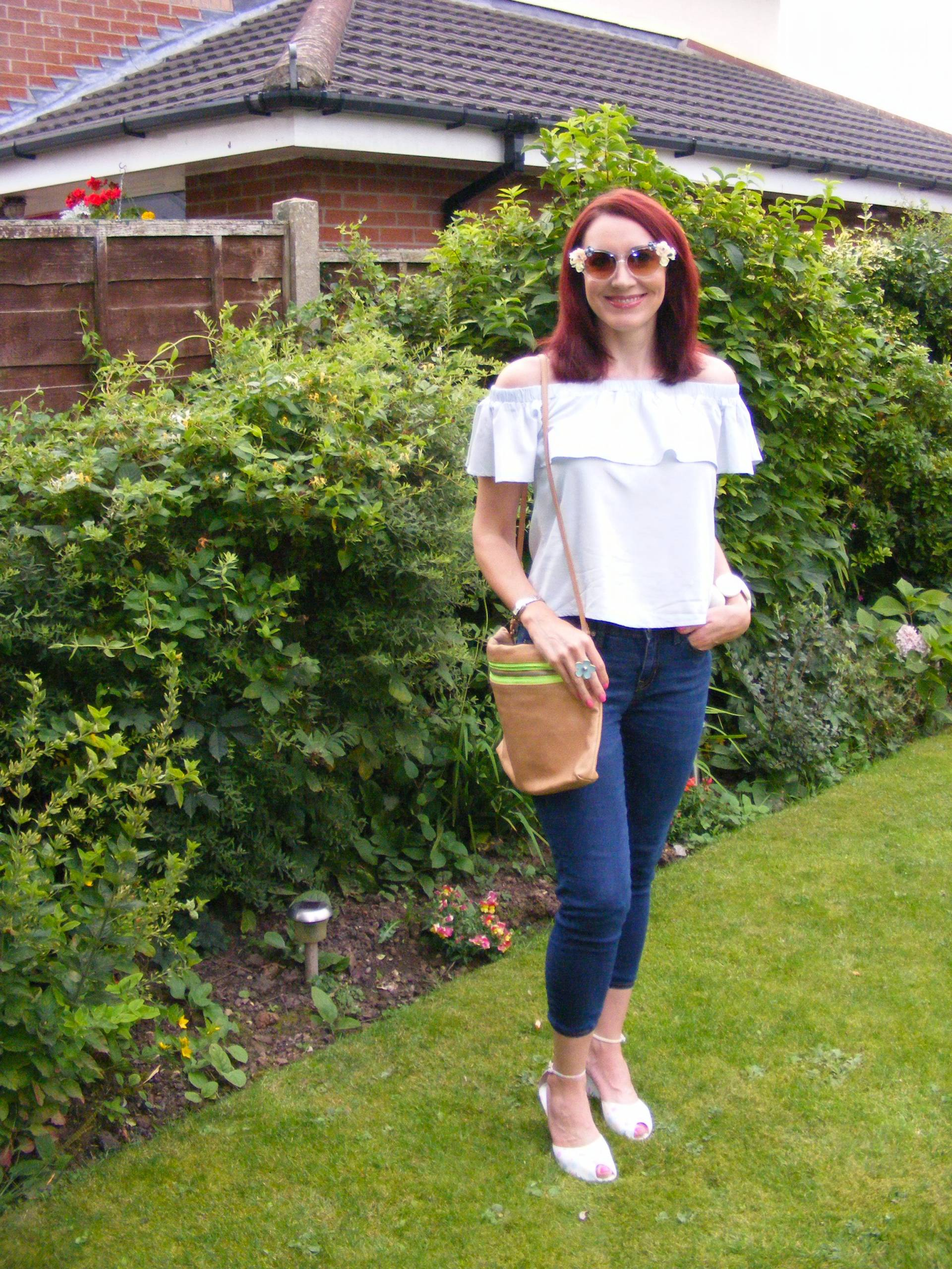 Off the Shoulder Chambray Frill Top and Flower Sunglasses