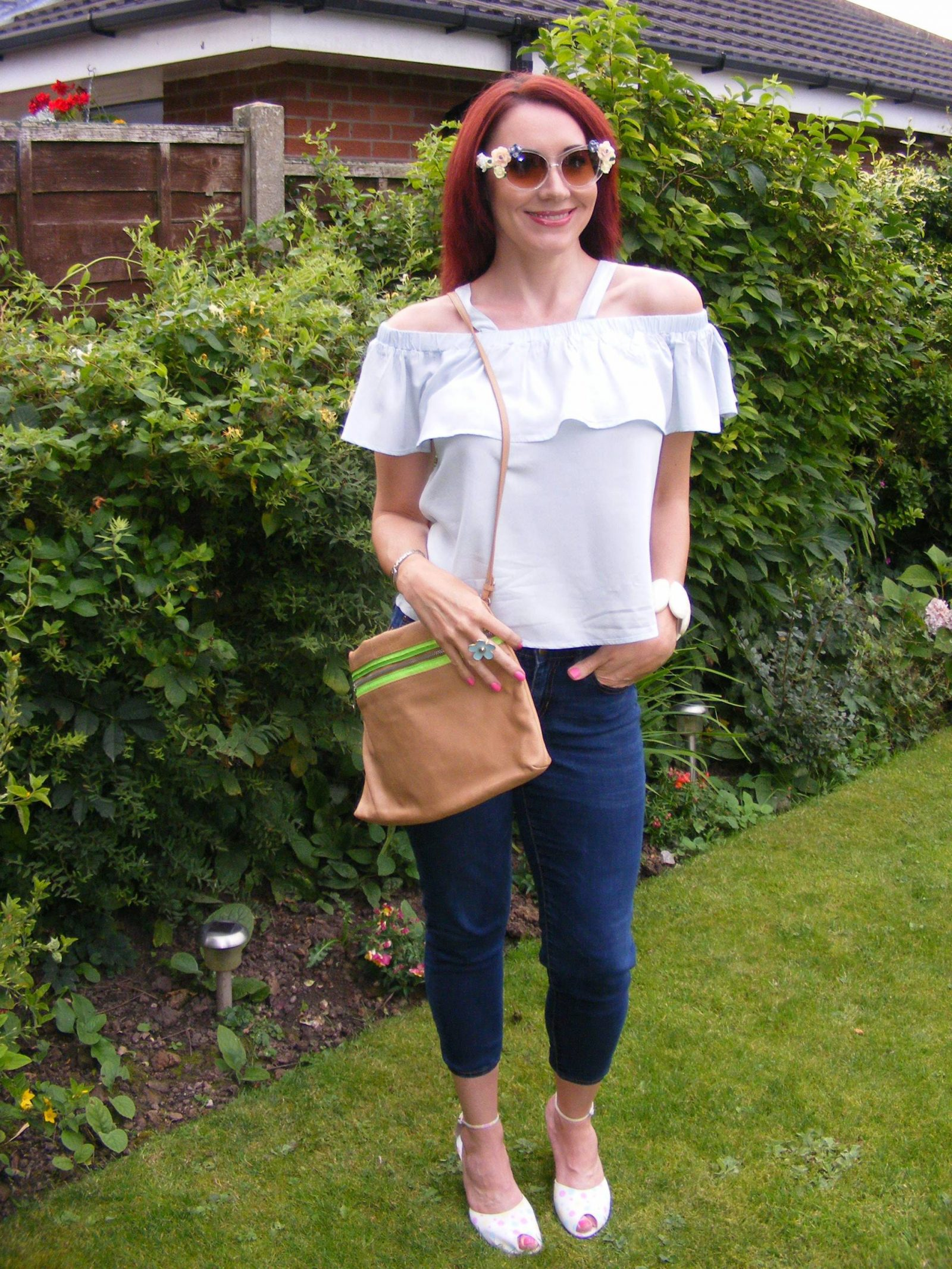 Amy Lynn off the shoulder top asos flower sunglasses