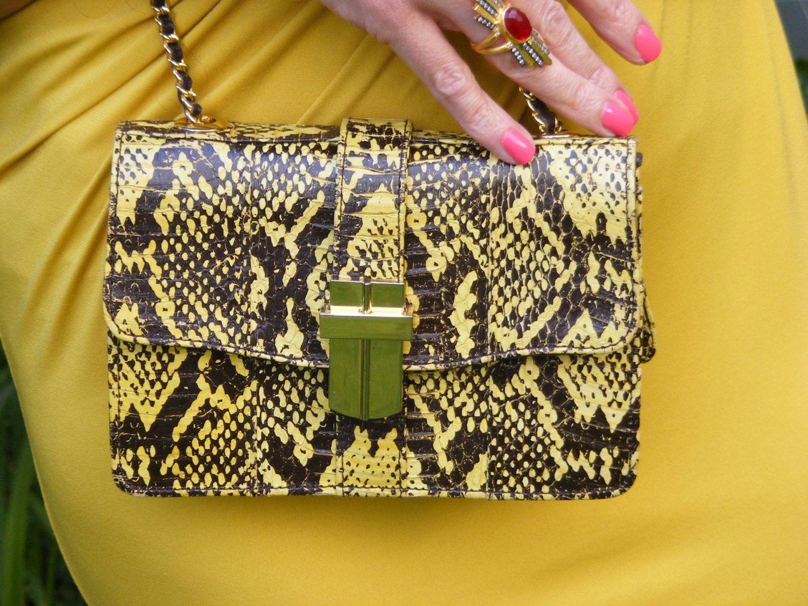Angel Jackson snakeskin bag J Jasper Conran mustard dress
