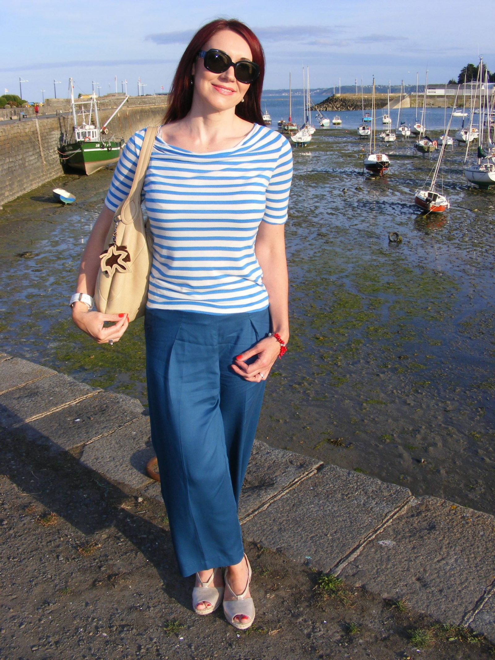 Breton Stripes and Asos Culottes Clarks gold espadrilles