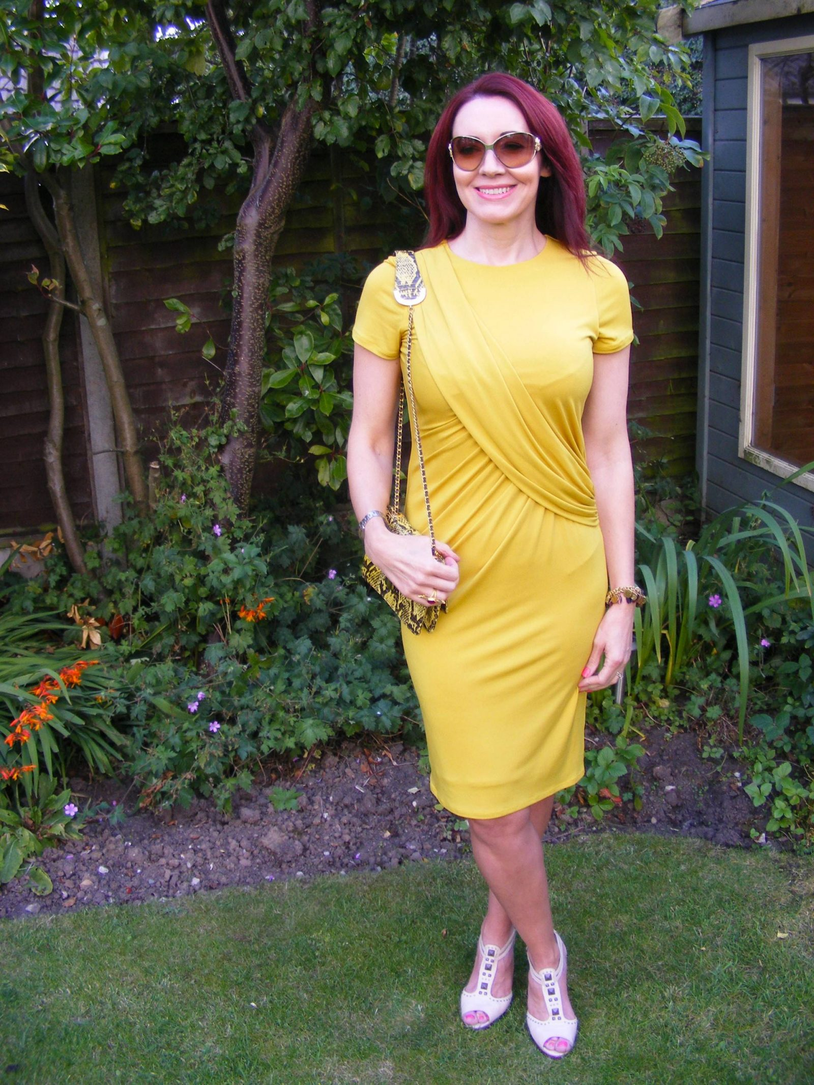 J by Jasper Conran mustard drape dress Angel Jackson snakeskin bag