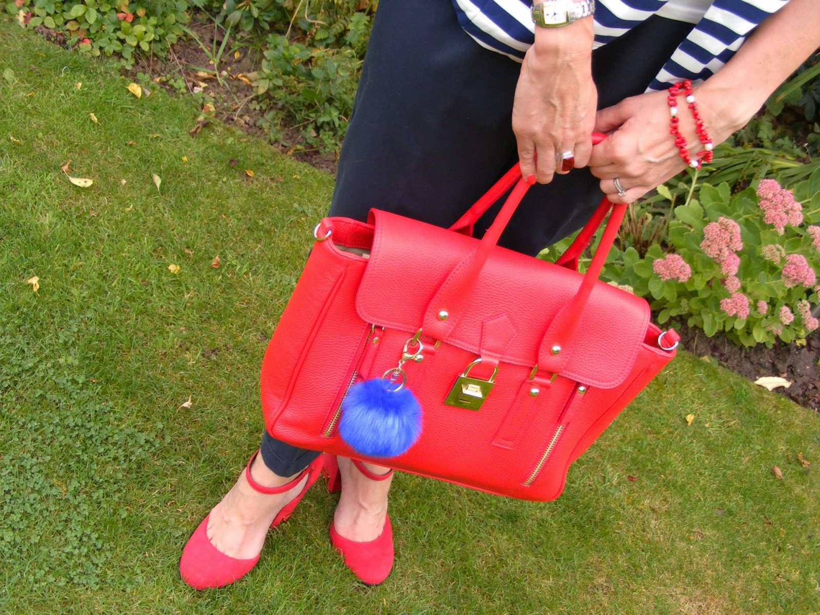 Mila Blu red bag Biba shoes SheIn striped jacket