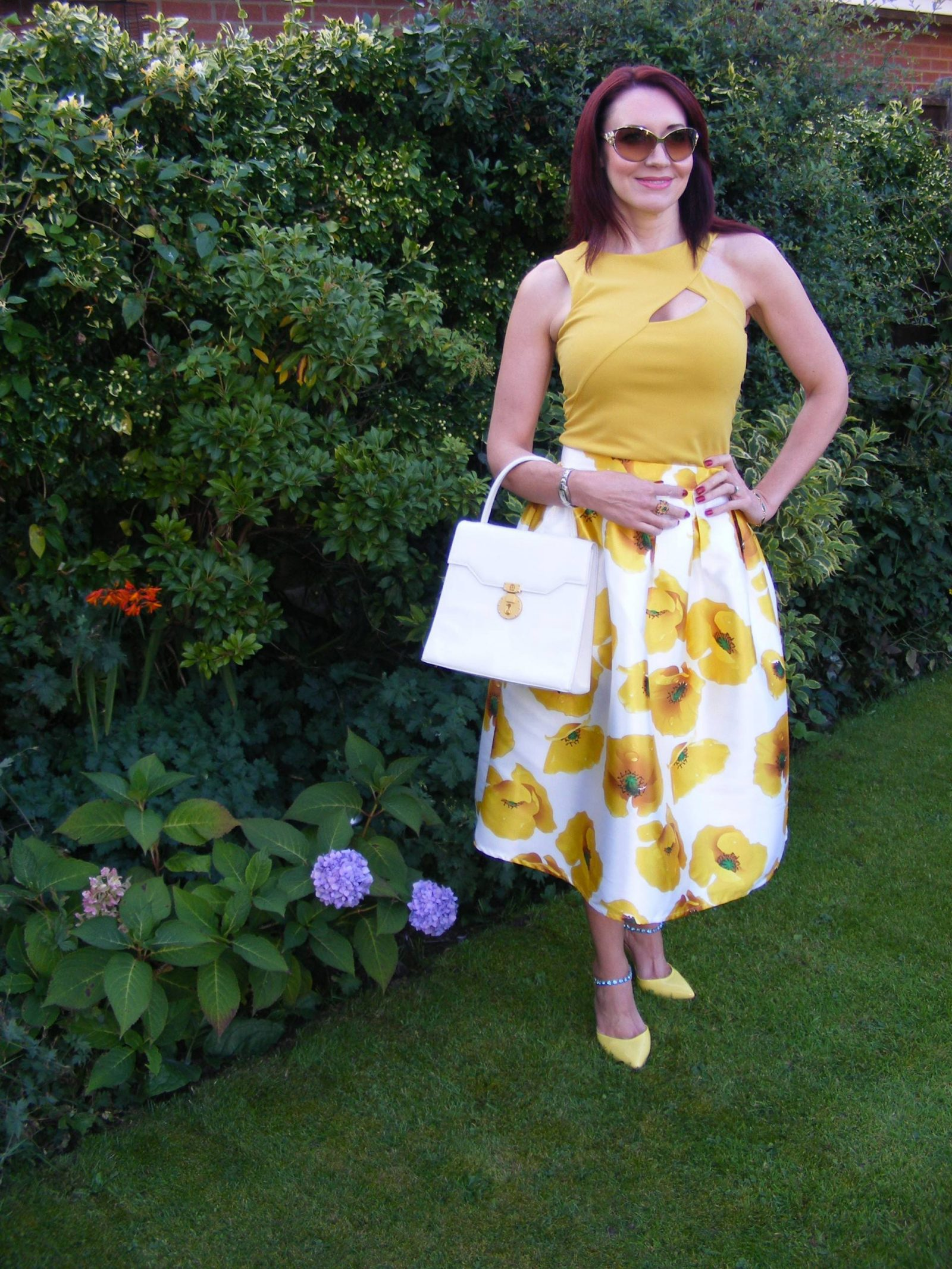 RomweYellow Floral Print Skirt Jane Norman top