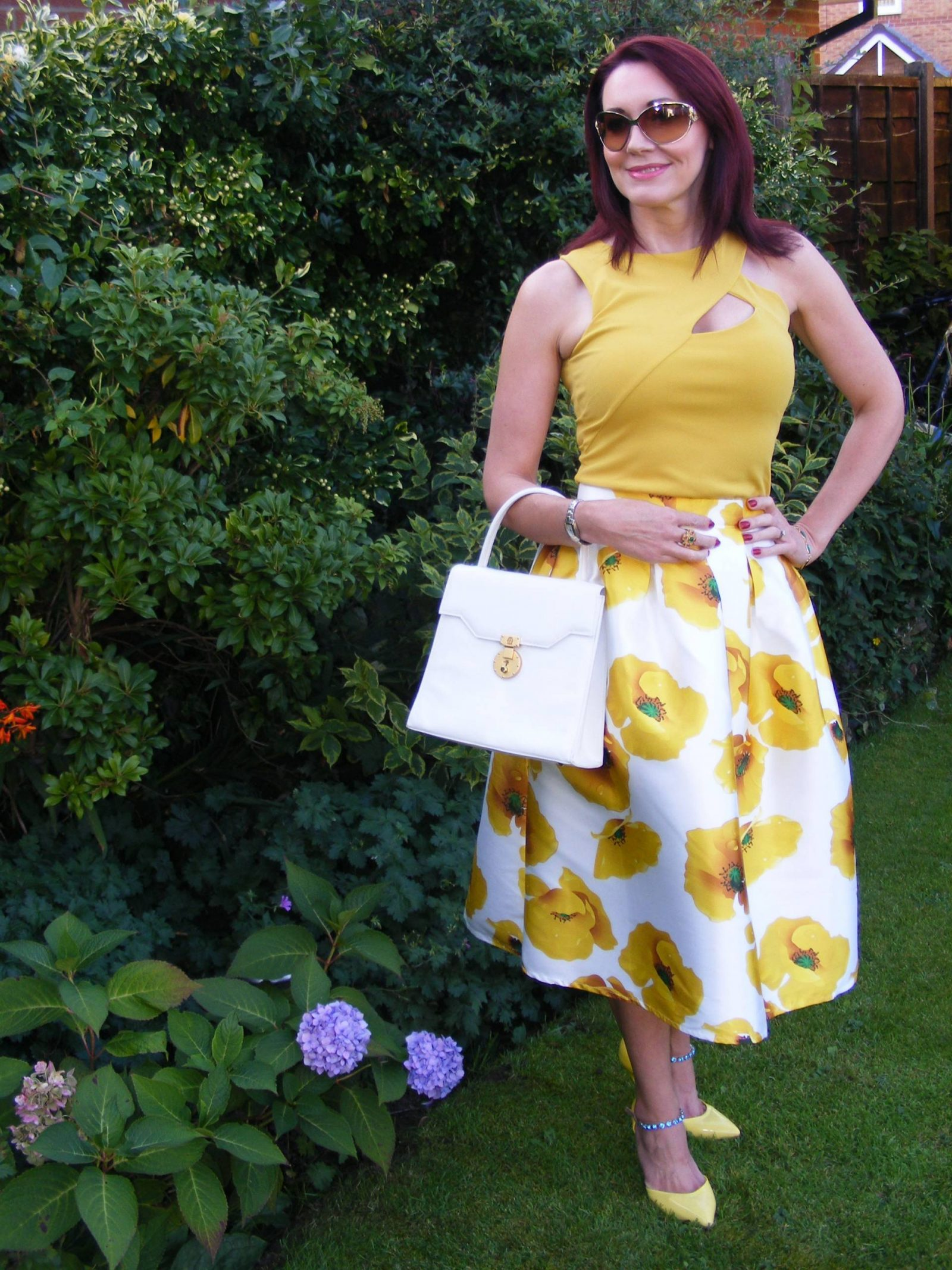 Romwe RomweYellow Floral Print Skirt Jane Norman top