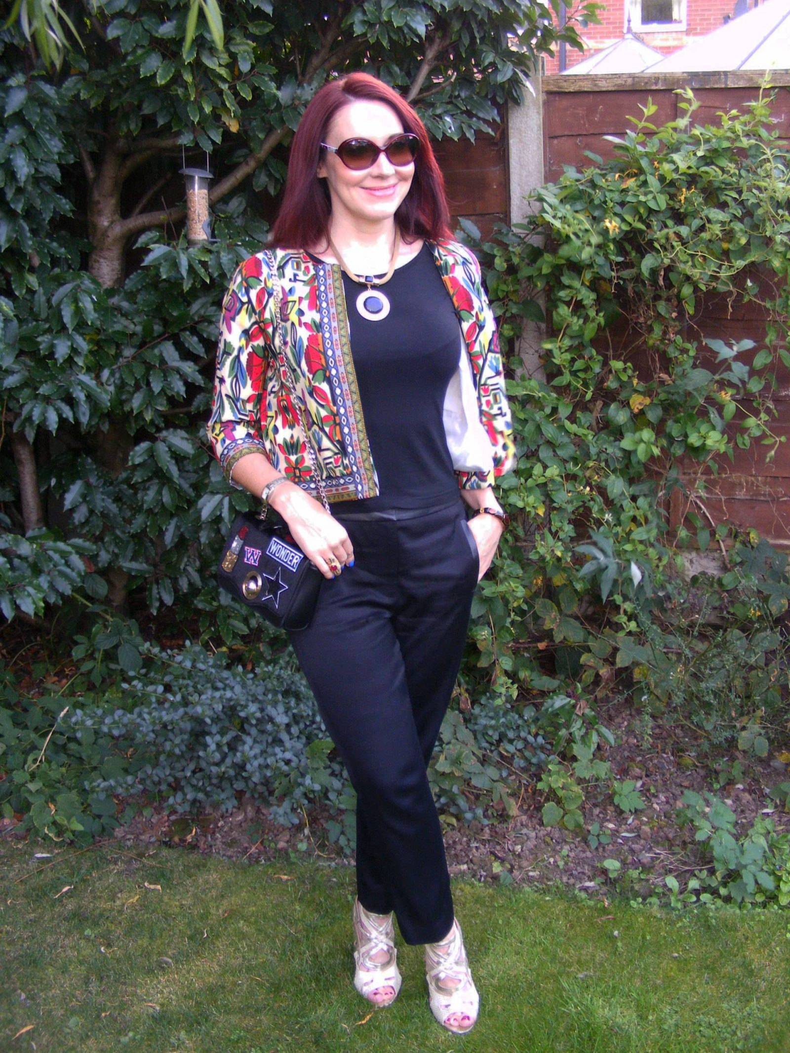 Shein tribal print jacket Tibi black trousers