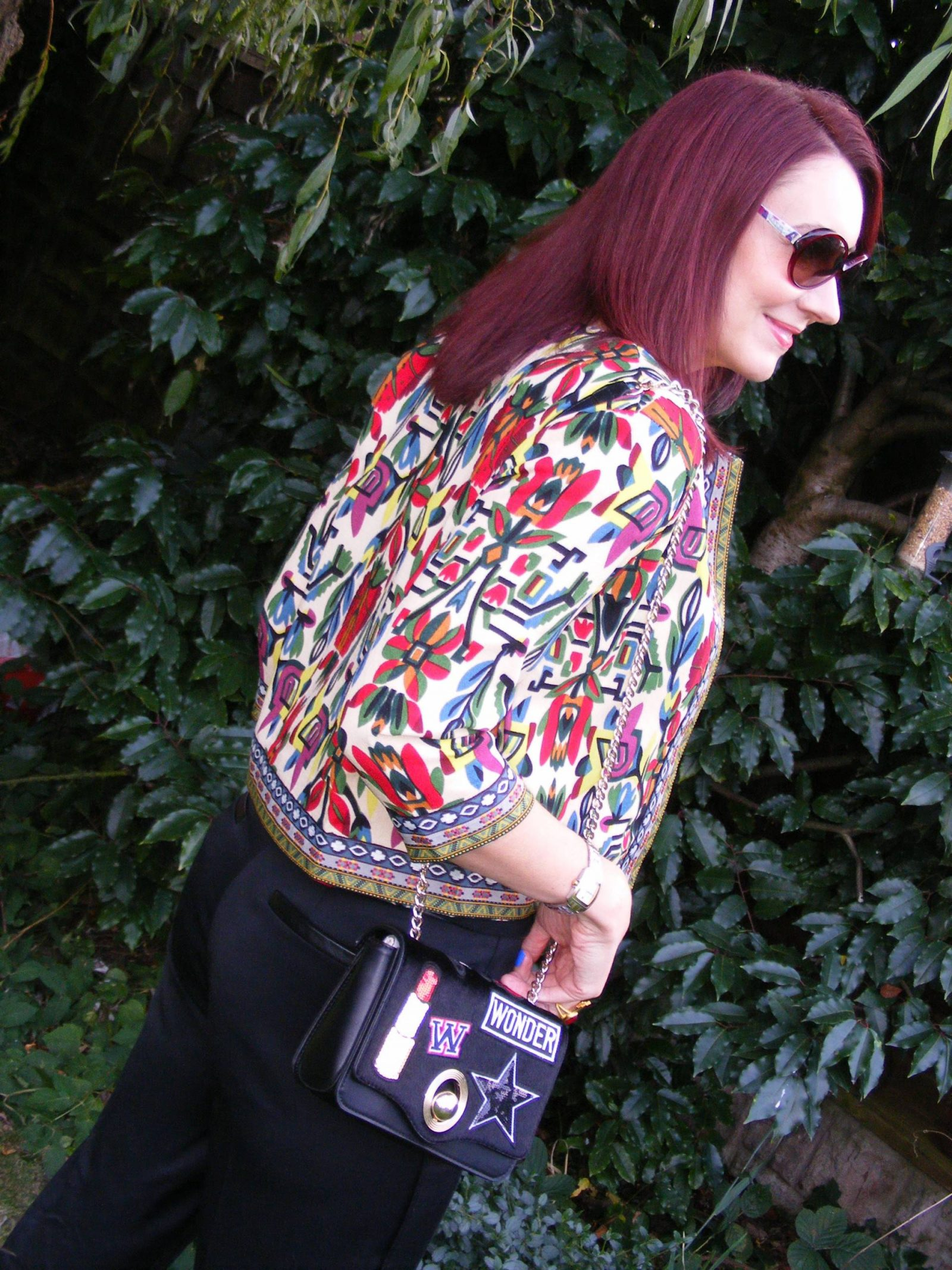 Shein tribal print jacket Zara patch bag