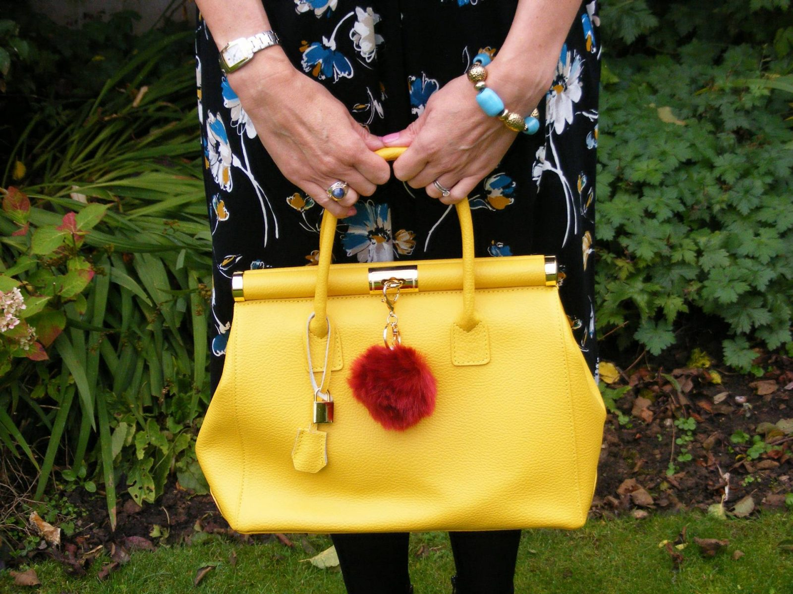Bonmarche Floral Tea Dress yellow Bright bag