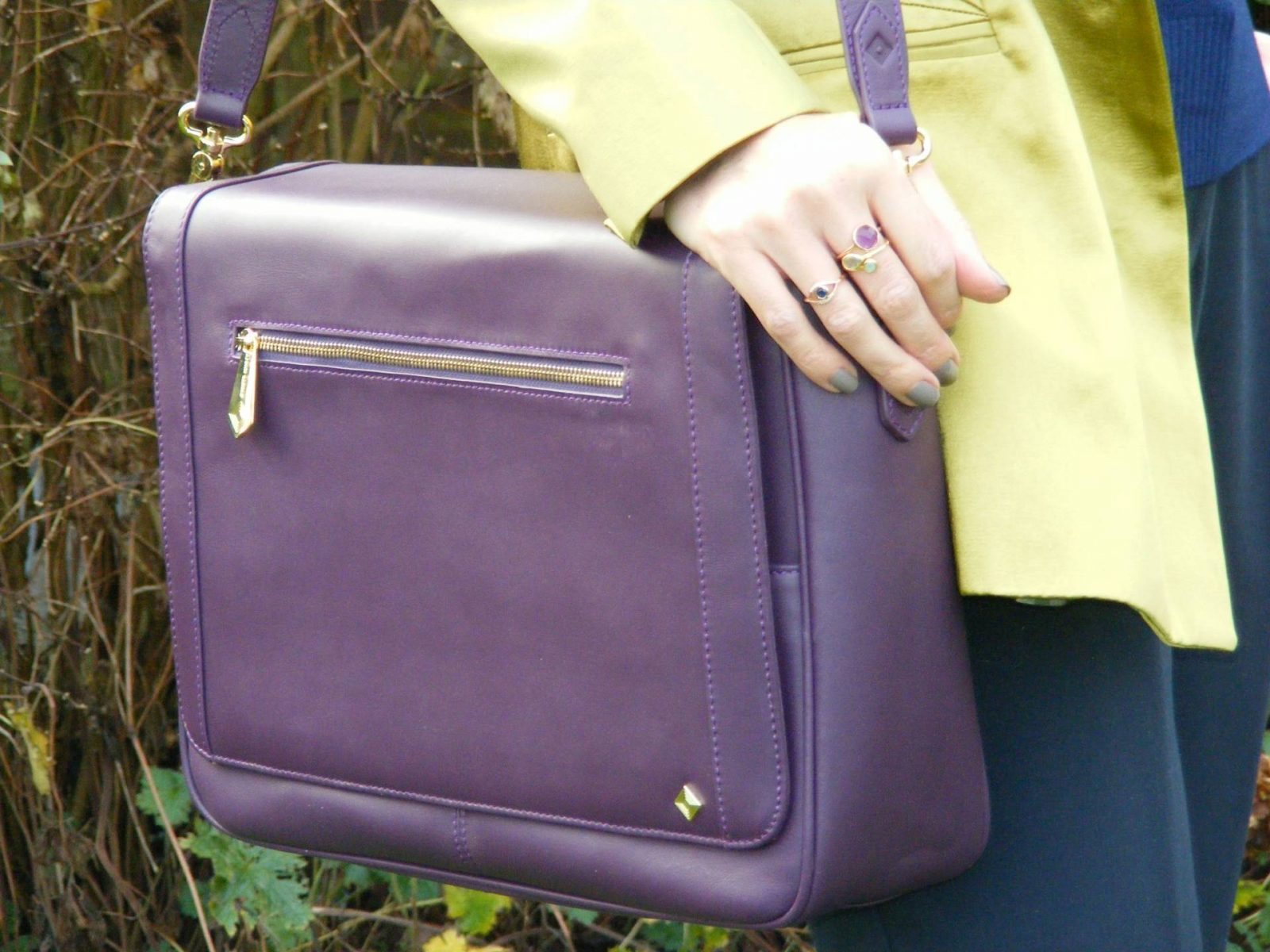 Jennifer Hamley Model KT aubergine bag