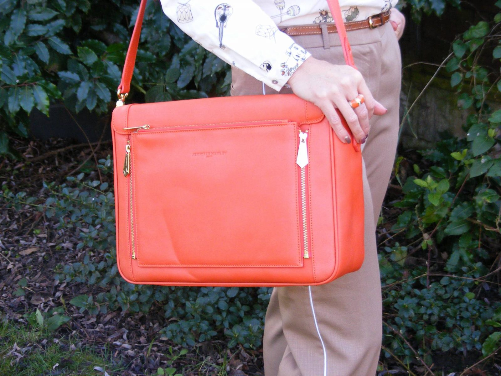 Neutrals With a Pop of Orange Jennifer Hamley Model KT salamander