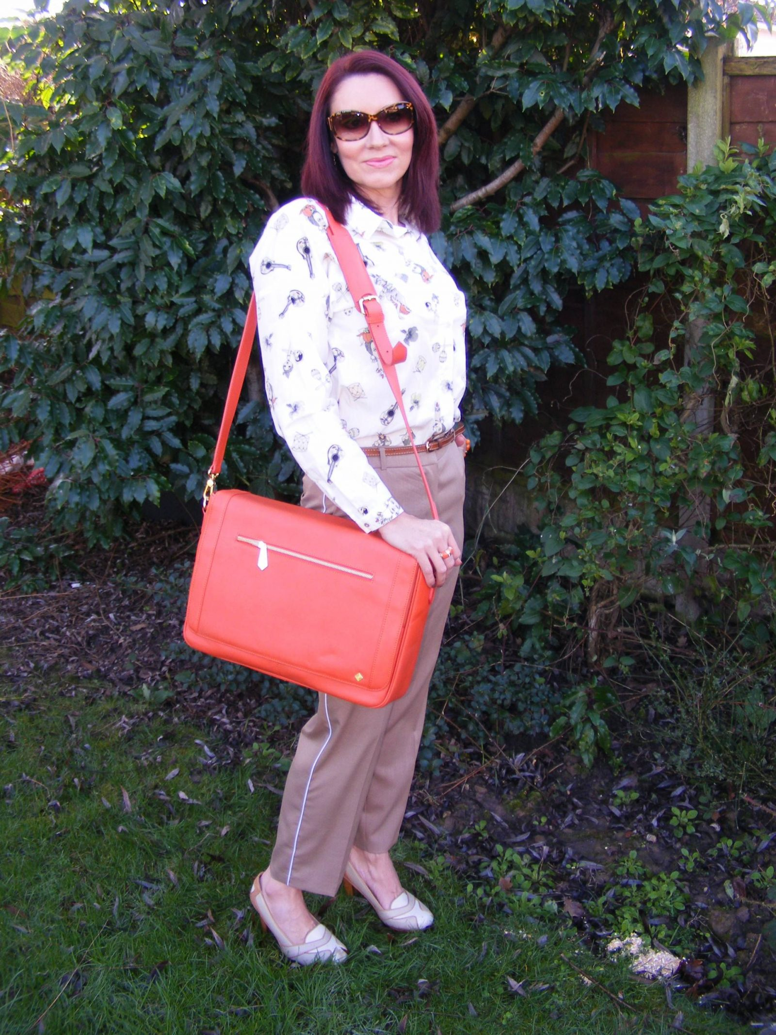 Neutrals With a Pop of Orange Zara shirt Jennifer Hamley Model KT salamander