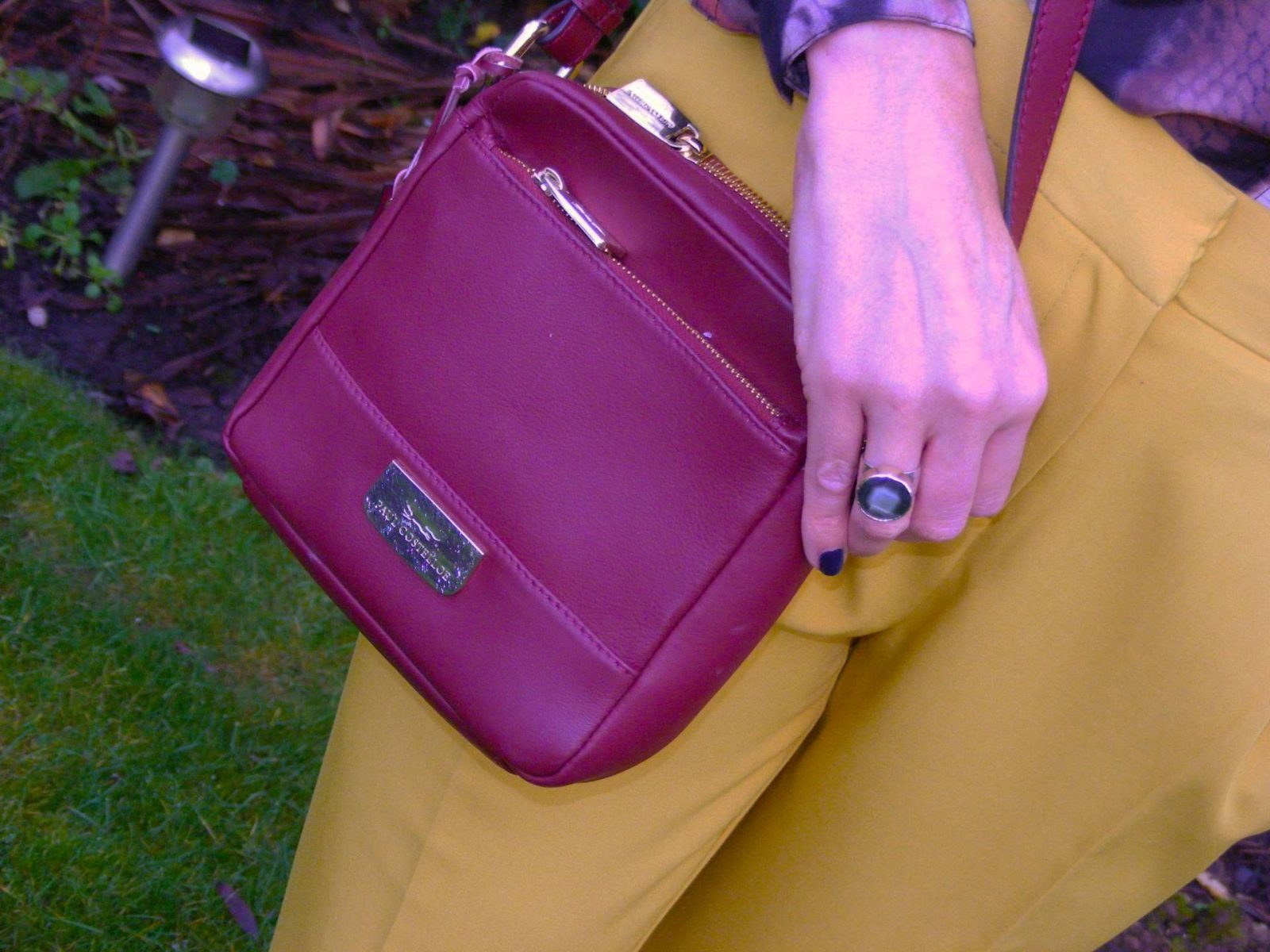 Asos mustard trousers Paul Costelloe burgundy bag