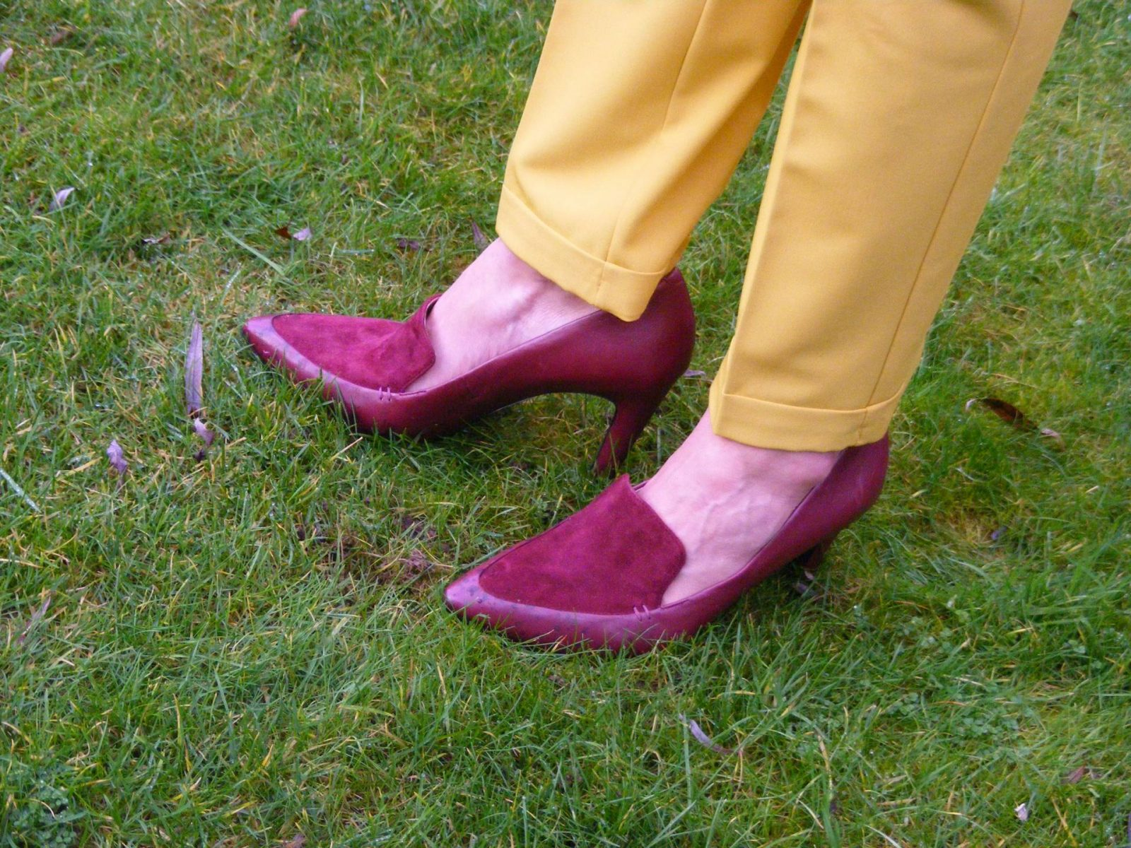 Burgundy Geox shoes Asos mustard trousers