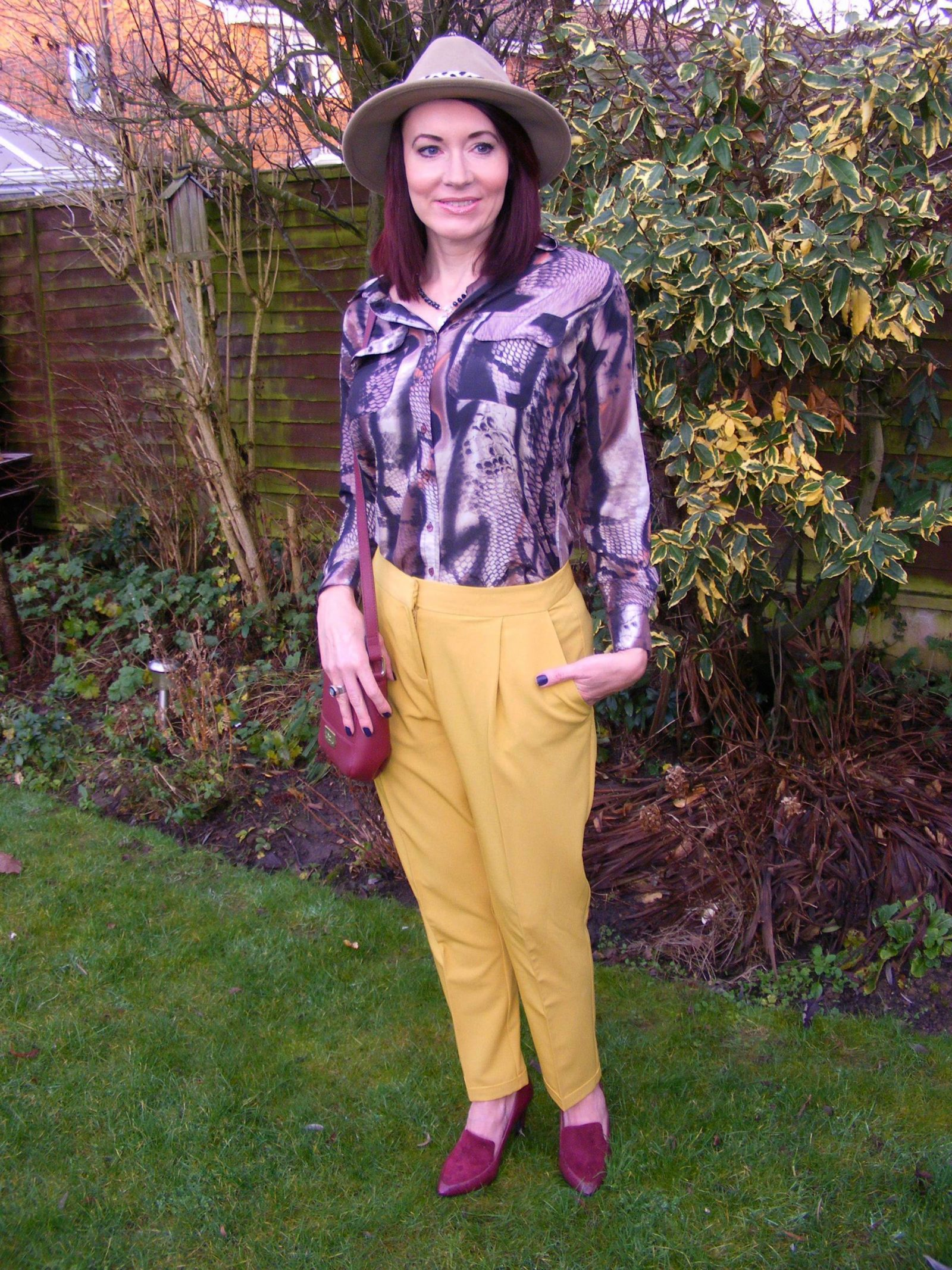 Asos mustard trousers Mary Portas blouse Eternal Collection crystal necklace