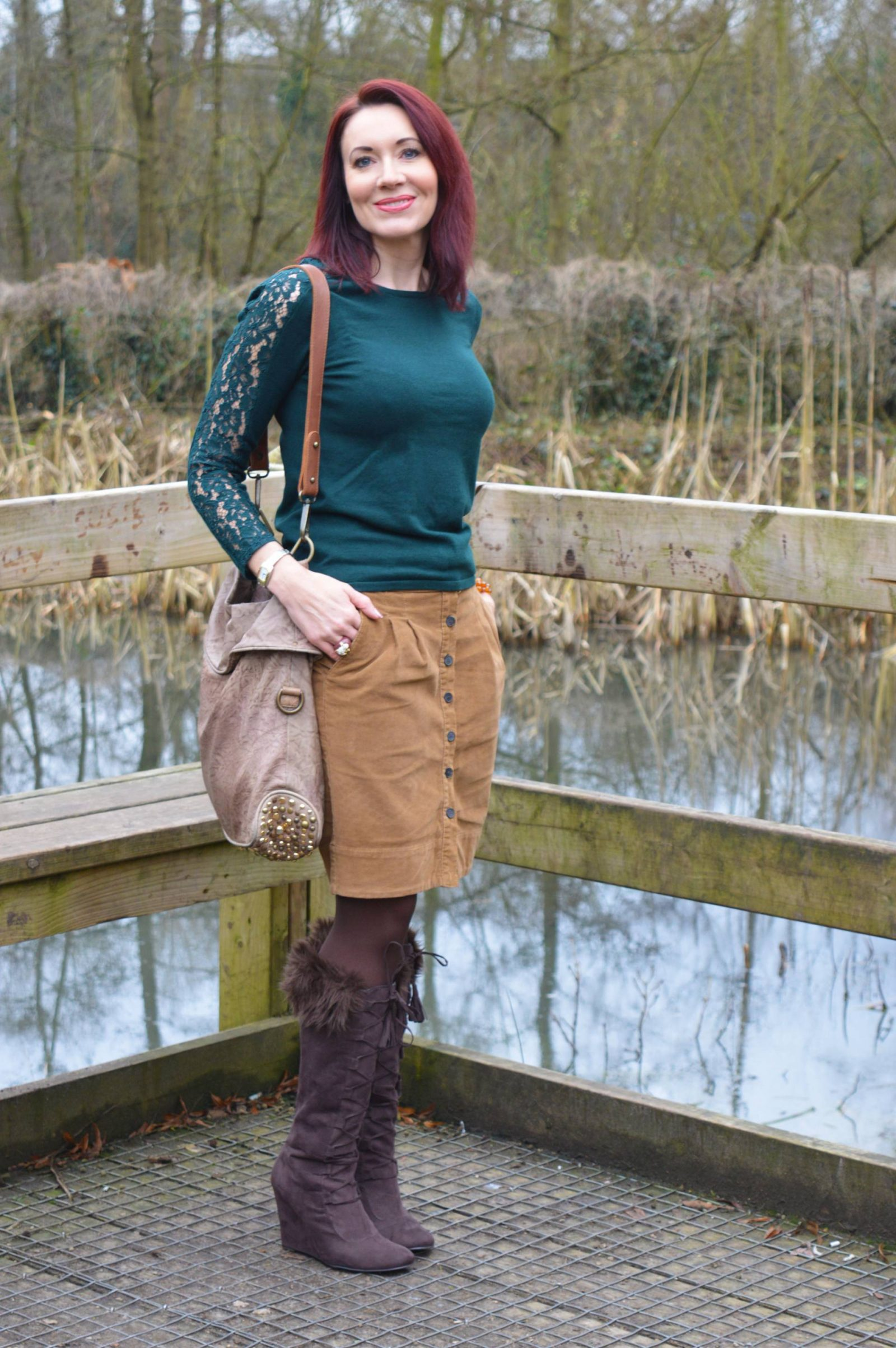 Shades of Green and Brown Laura Ashley green jumper