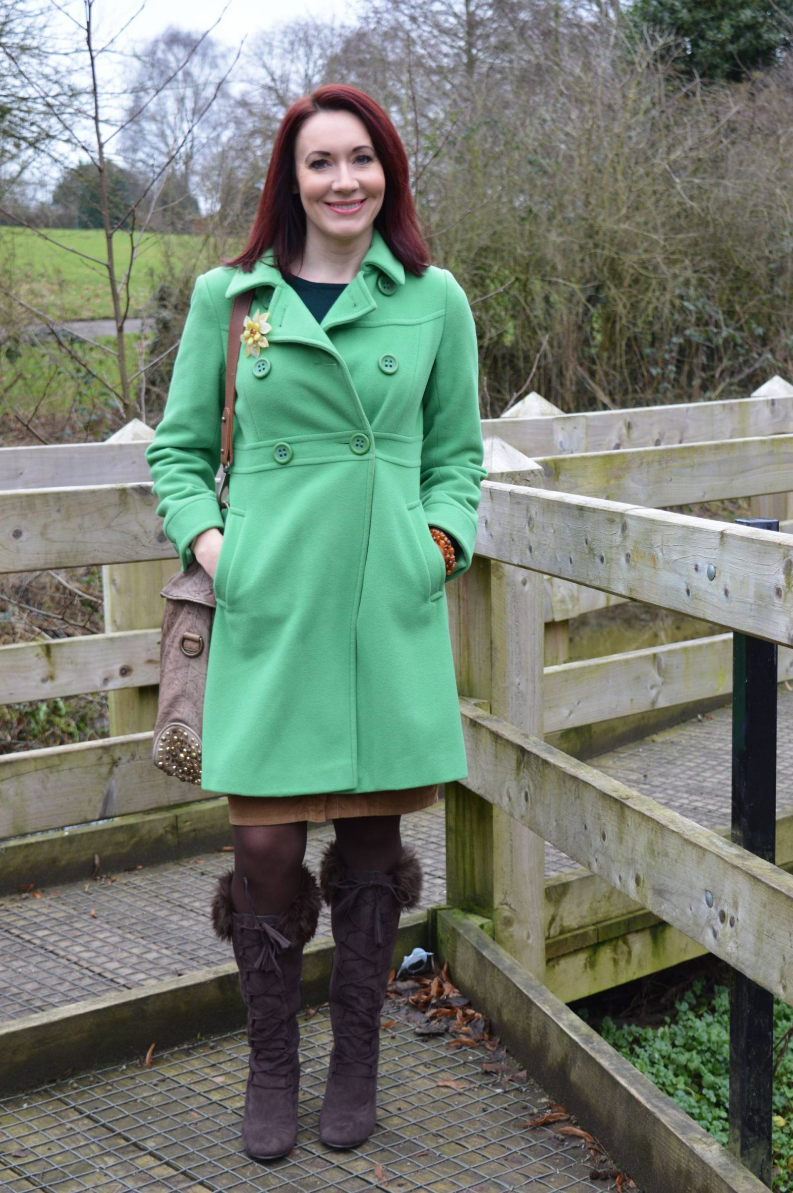 Shades of Green and Brown Laura Ashley green coat
