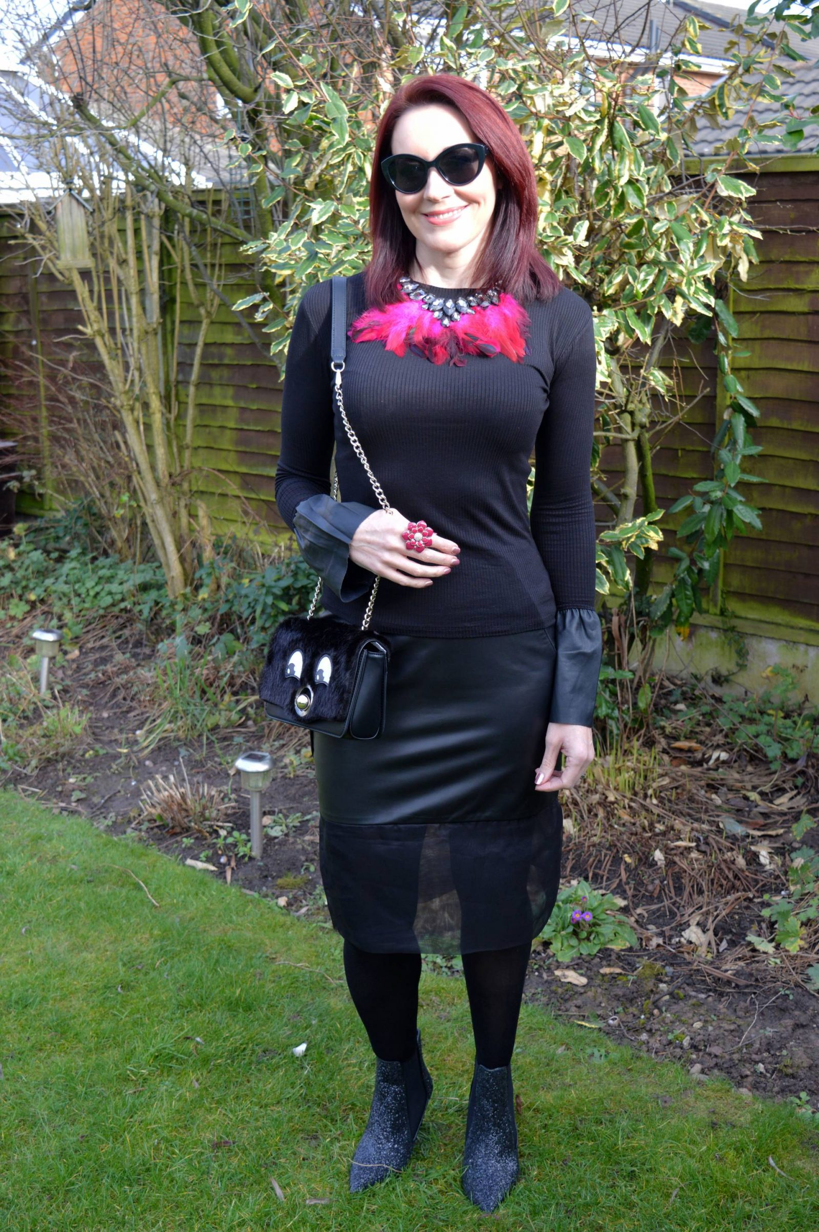 Leather Skirt and Statement Sleeves Peridot skirt