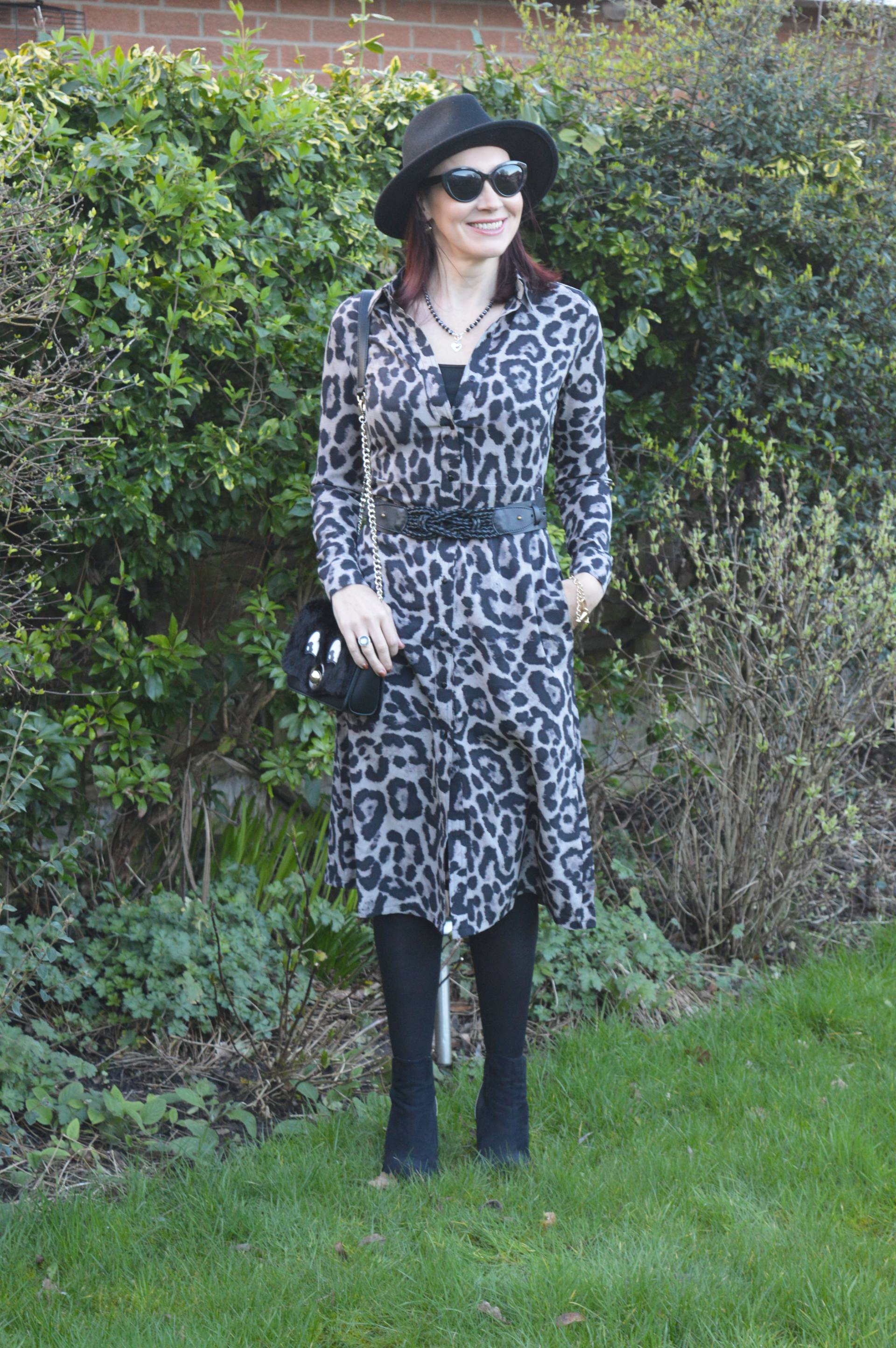 Leopard Print Shirt Dress and Wide Brim Hat + Style With a Smile Link Up