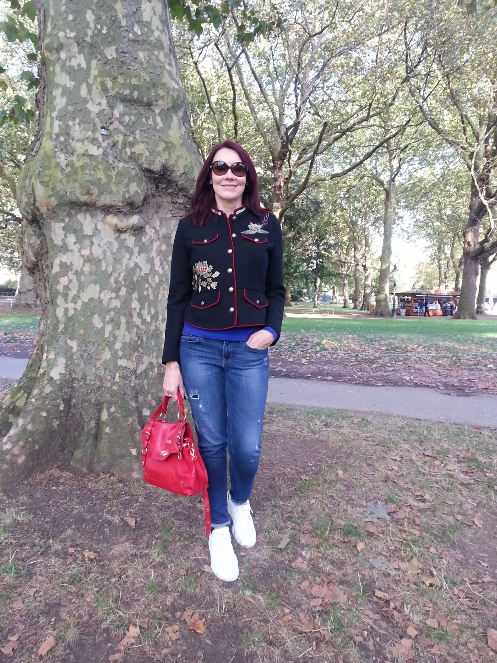 Weekend in London zara military jacket and boyfriend jeans