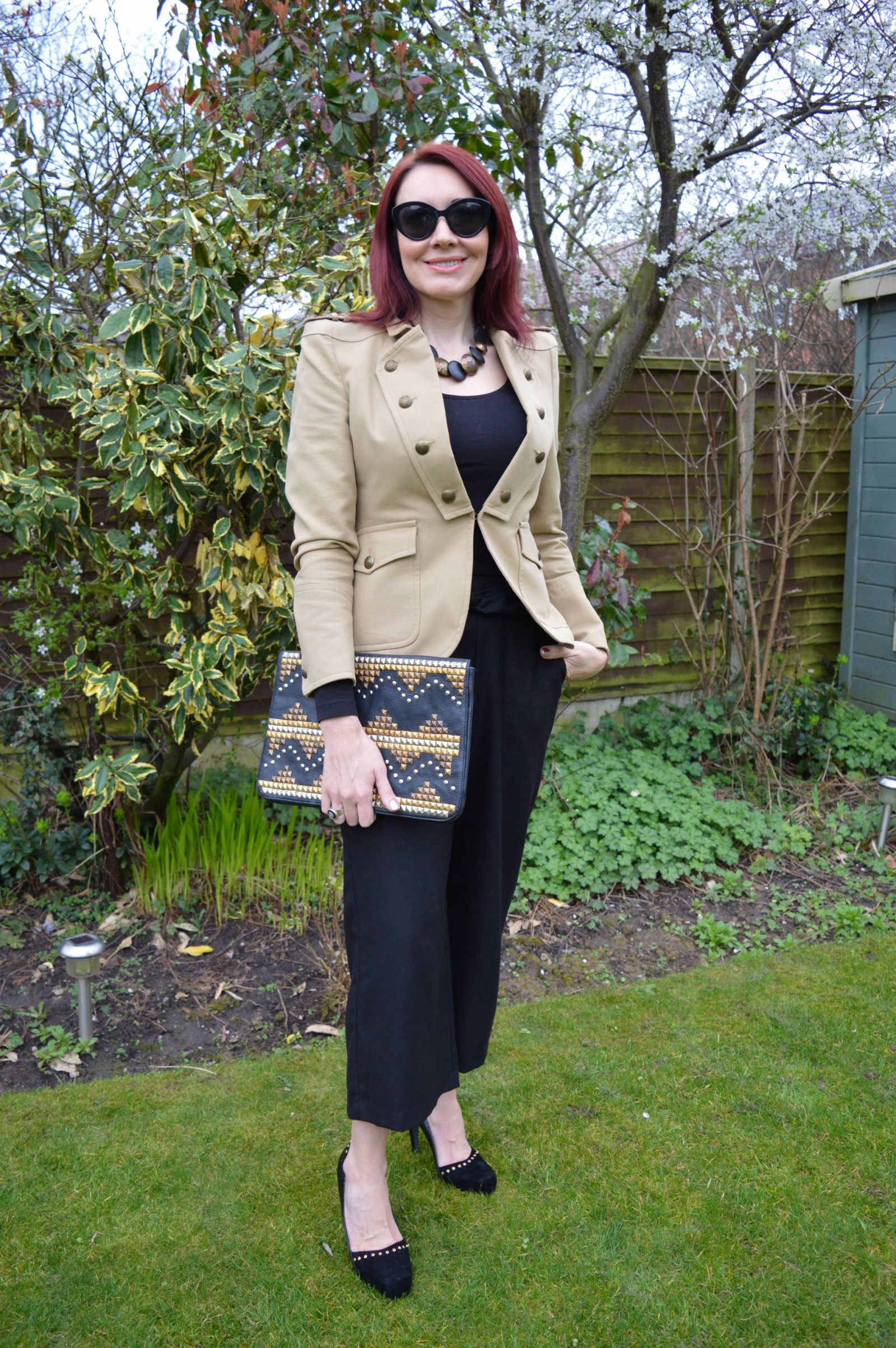 Military Jacket and Studs zara-military-blazer-and-black-trousers