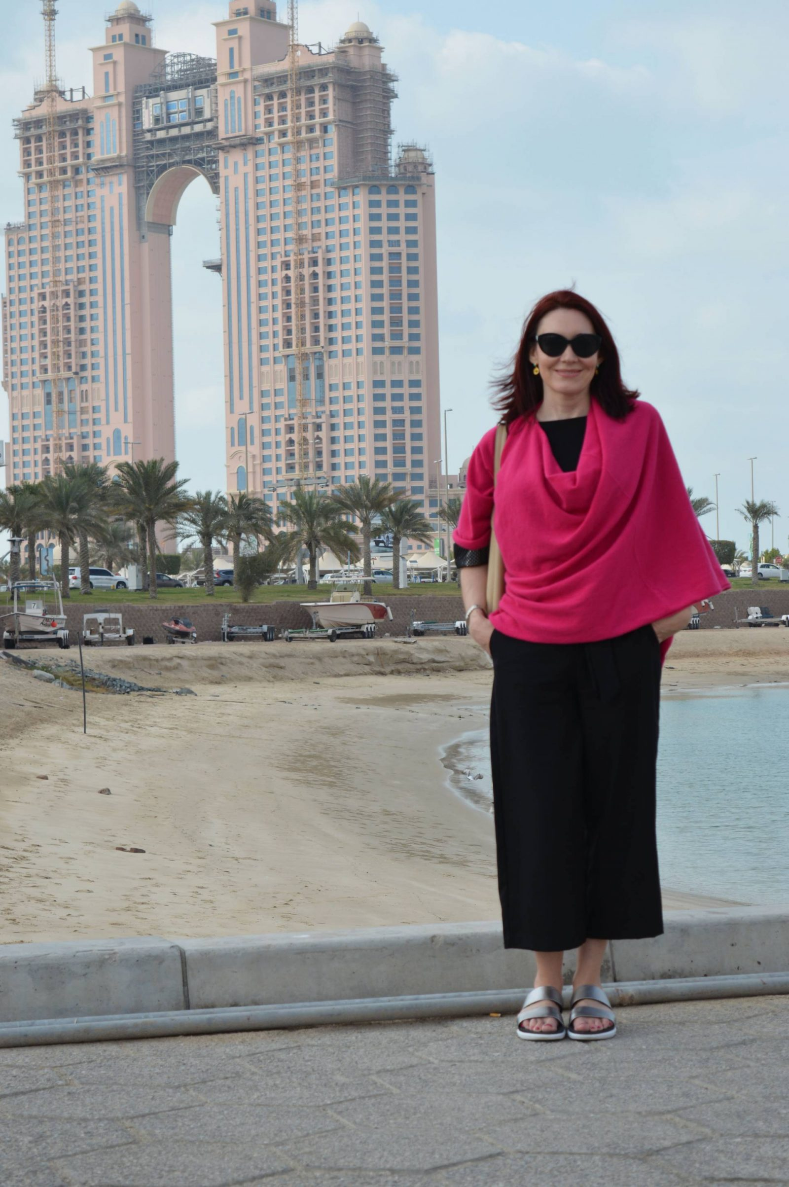 Holiday in Abu Dhabi Hope-poncho-zara-trousers FitFlops