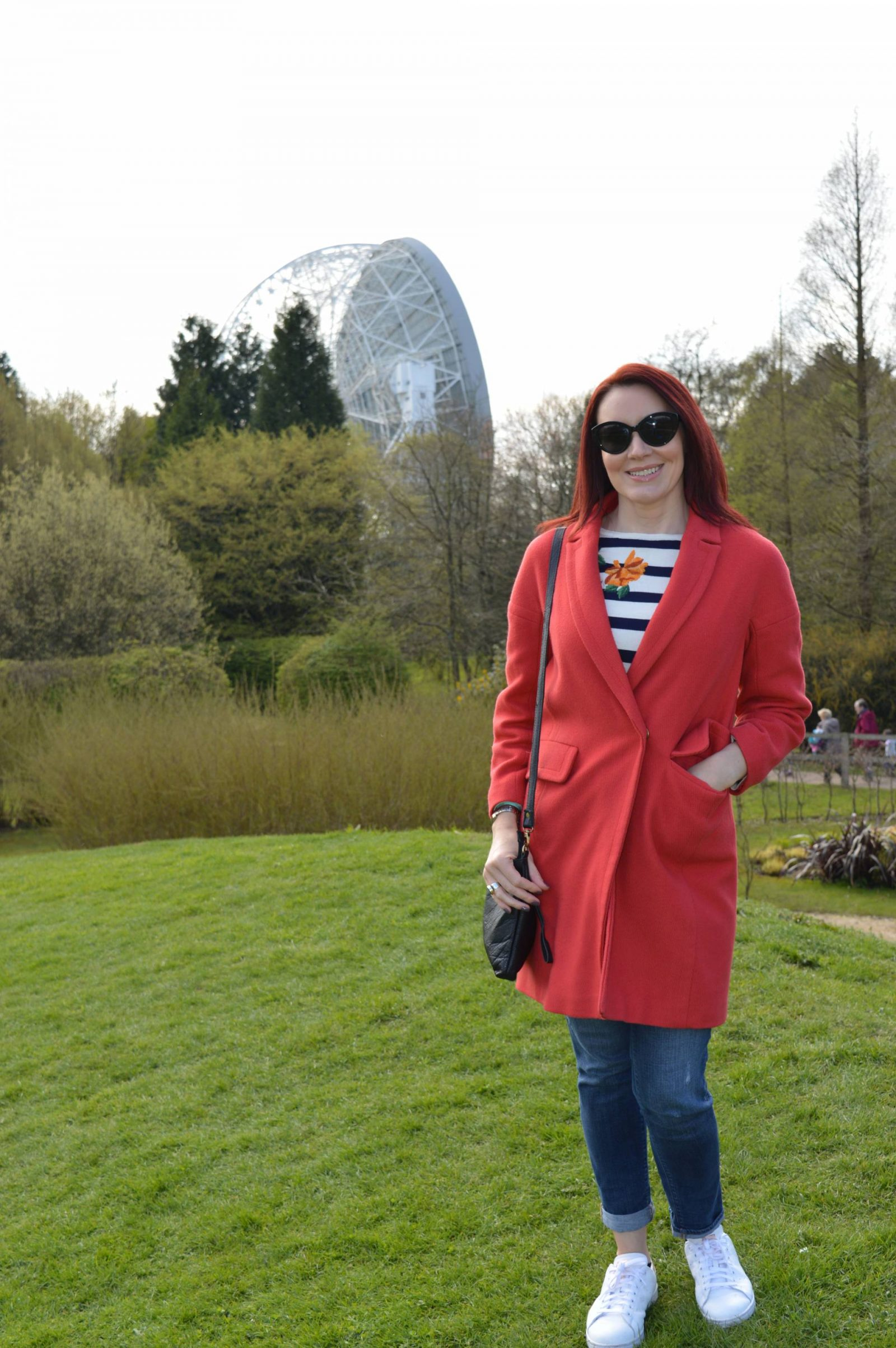 Casual Red, White and Blue Outfit for a Day at Jodrell Bank