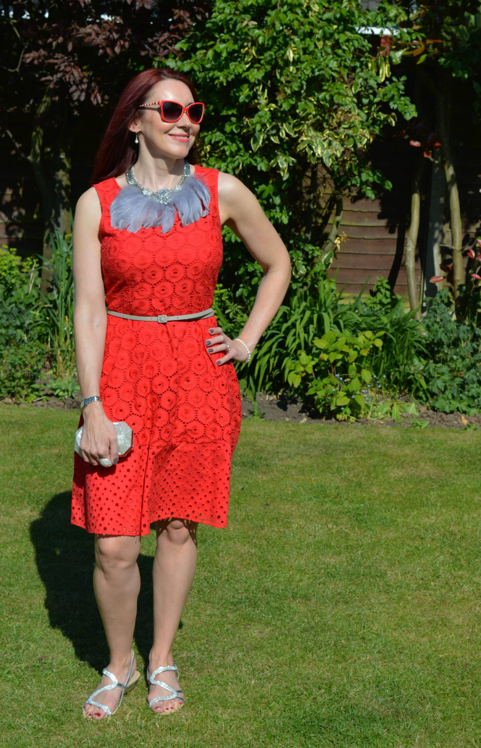 Bonmarché Red Dress Styled Two Ways Bonmarche diamante sandals feather bib necklace
