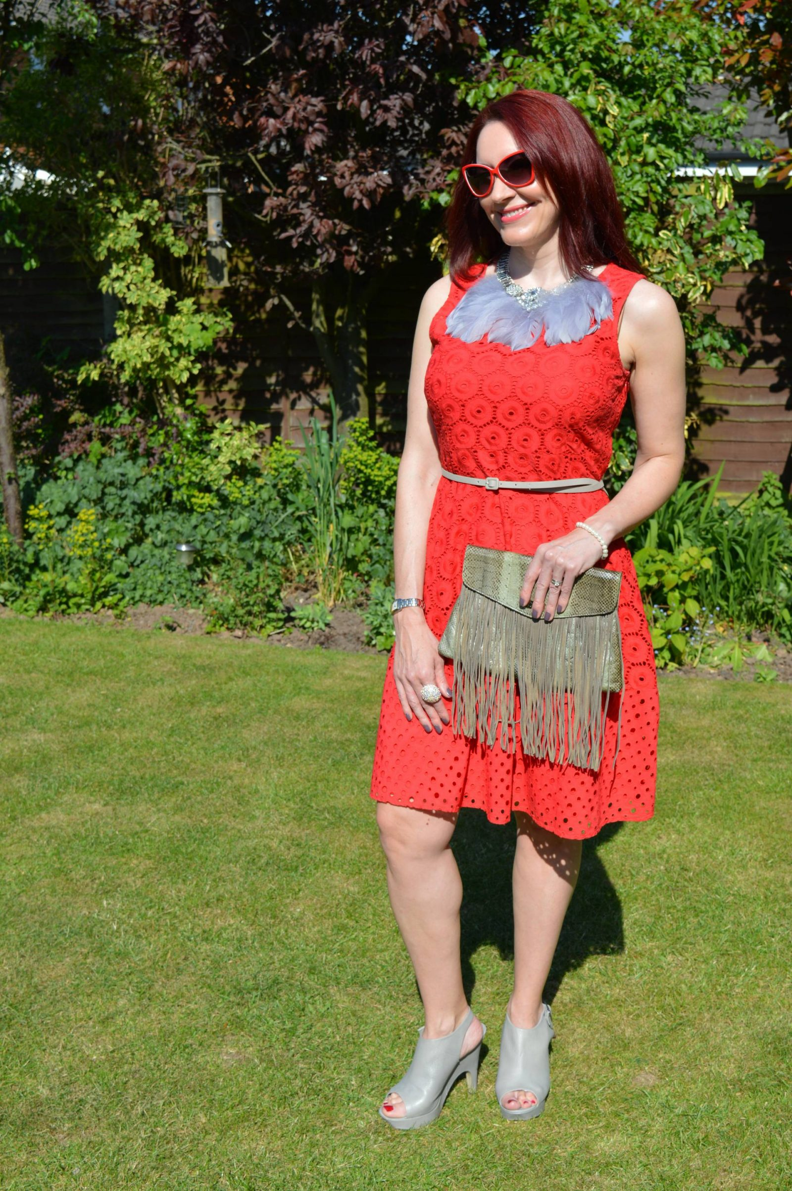 Bonmarché Red Dress Styled Two Ways feather bib necklace Angel Jackson snakeprint clutch