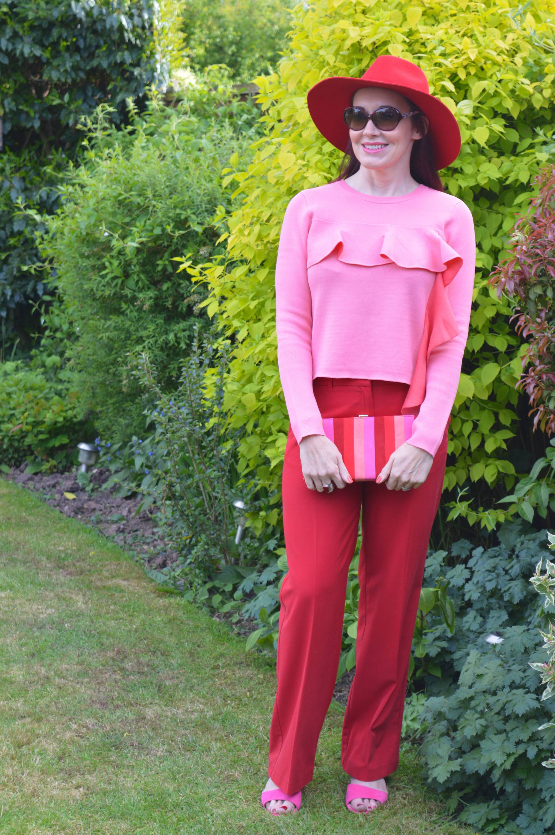 Colour Blocking Red and Pink With Lotus Shoes and Bag + Style With a Smile Link Up