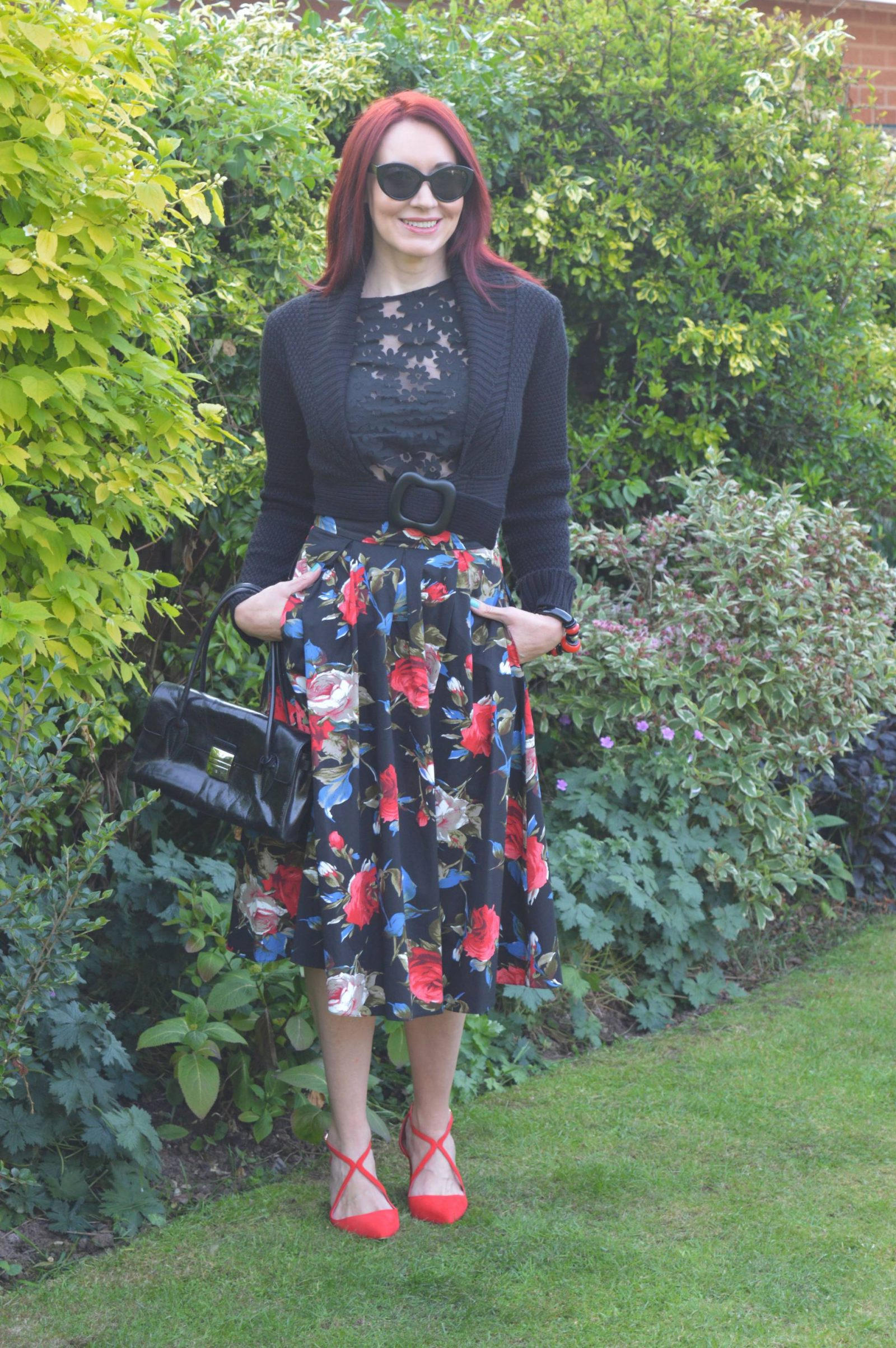 Floral Print Midi Skirt and Cropped Cardigan